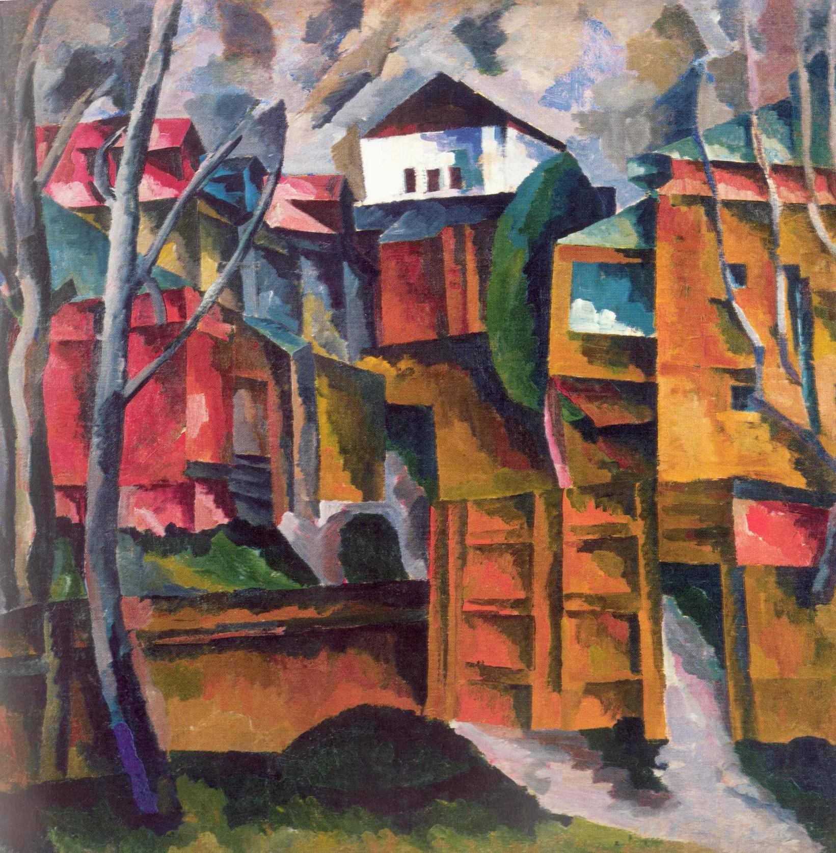 Пейзаж с белым домом и желтыми воротами, Лентулов Аристарх Васильевич
