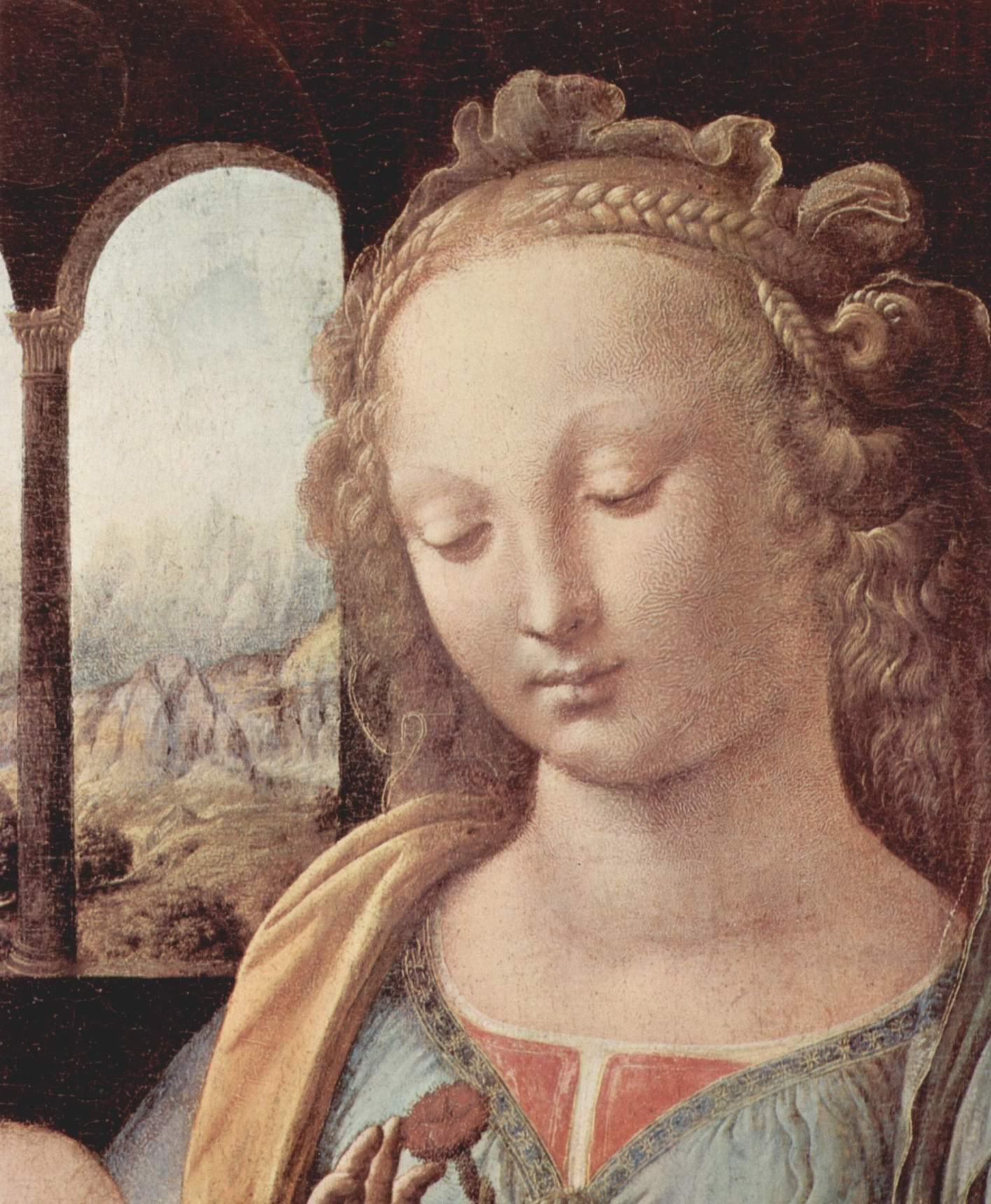 Мадонна с гвоздикой. Фрагмент. Мадонна, Леонардо да Винчи