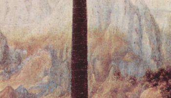 Мадонна с гвоздикой. Фрагмент. Пейзаж заднего плана