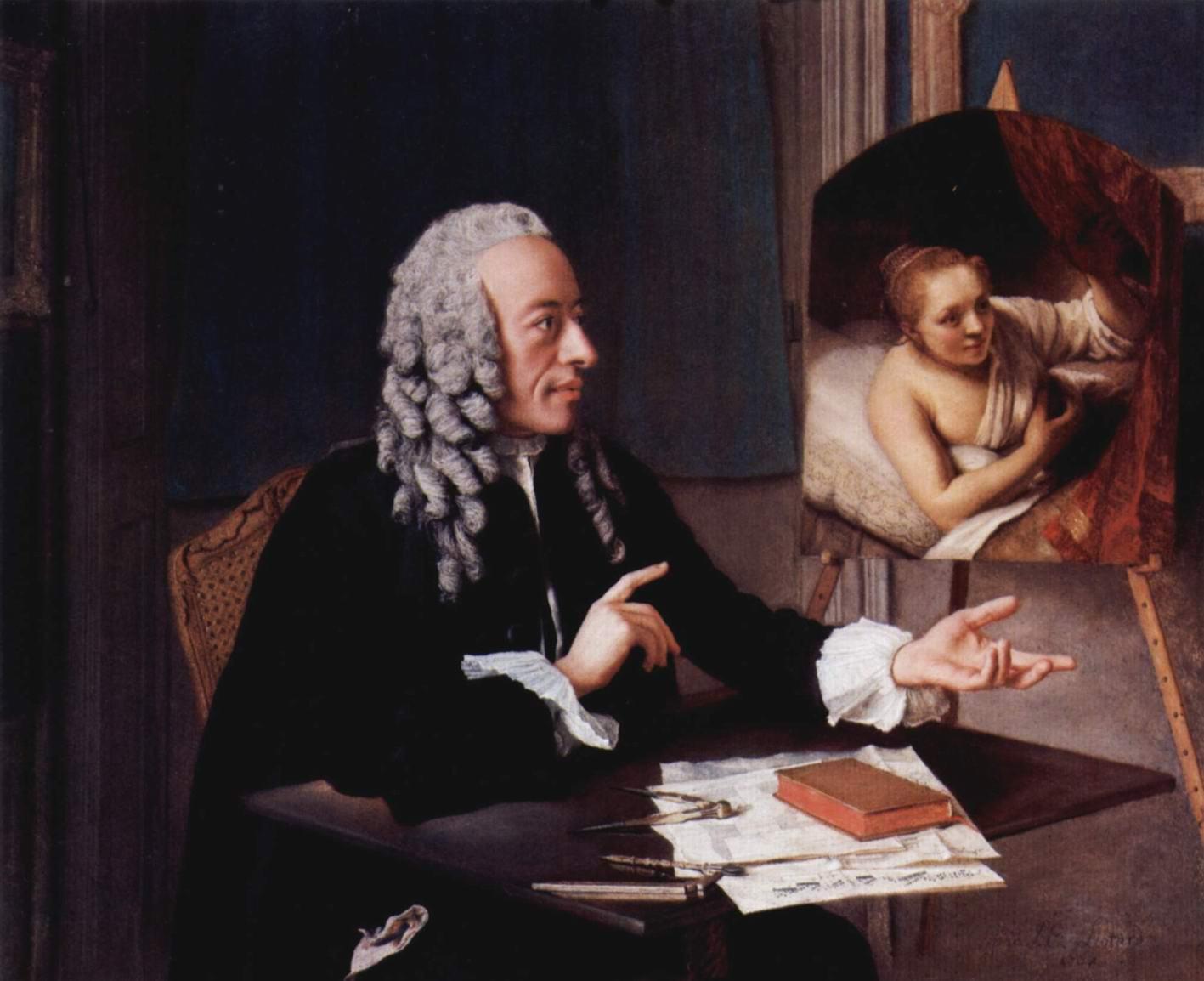 Портрет Франсуа Троншена, рассматривающего своего Рембрандта, Лиотар Жан-Этьен