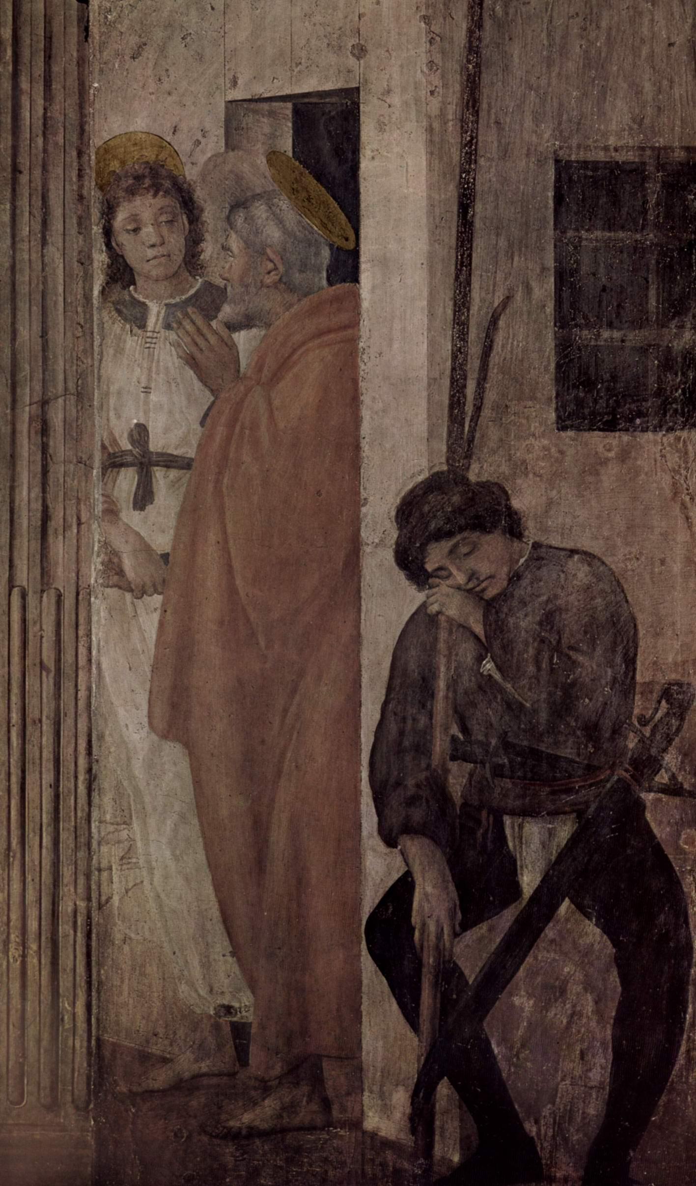 Цикл фресок в капелле Бранкаччи в Санта Мария дель Кармине (Флоренция). Ангел освобождает Петра из темницы, Липпи Филиппино