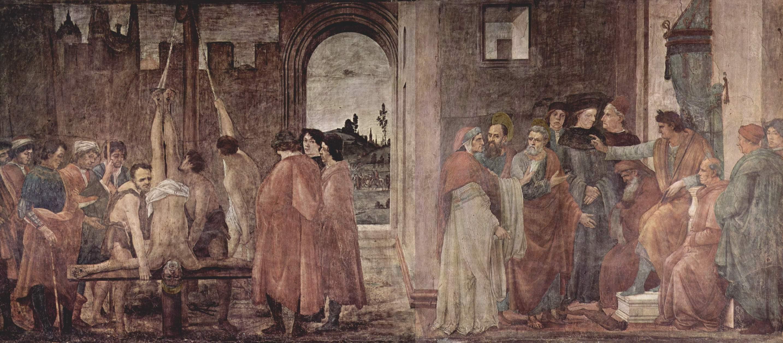 Цикл фресок в капелле Бранкаччи в Санта Мария дель Кармине (Флоренция). Мученичество апостола Петра и Диспут с магом Симоном перед Нероном, Липпи Филиппино