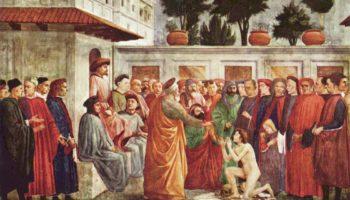 Цикл фресок в капелле Бранкаччи в Санта Мария дель Кармине (Флоренция). Сцены из жизни Петра. Воскрешение Феофила, сына антиохийского вельможи