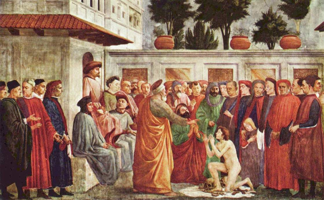 Цикл фресок в капелле Бранкаччи в Санта Мария дель Кармине (Флоренция). Сцены из жизни Петра. Воскрешение Феофила, сына антиохийского вельможи, Липпи Филиппино