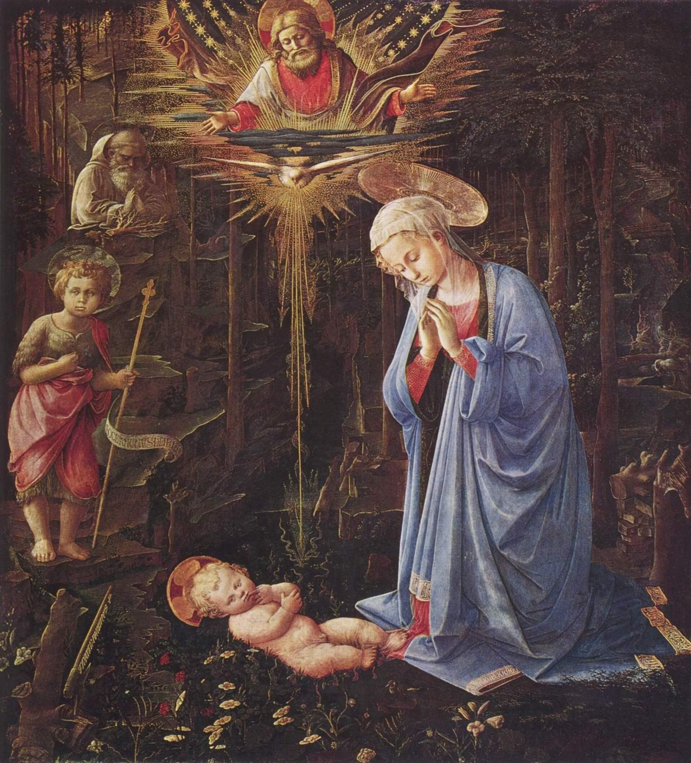 Поклонение младенцу со св. Бернардом, Липпи Фра Филиппо