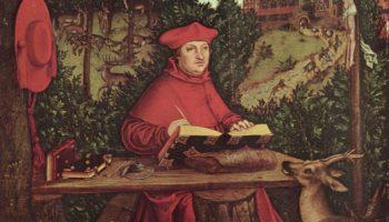 Портрет кардинала Альбрехта Бранденбурского на фоне пейзажа в виде св. Иеронима