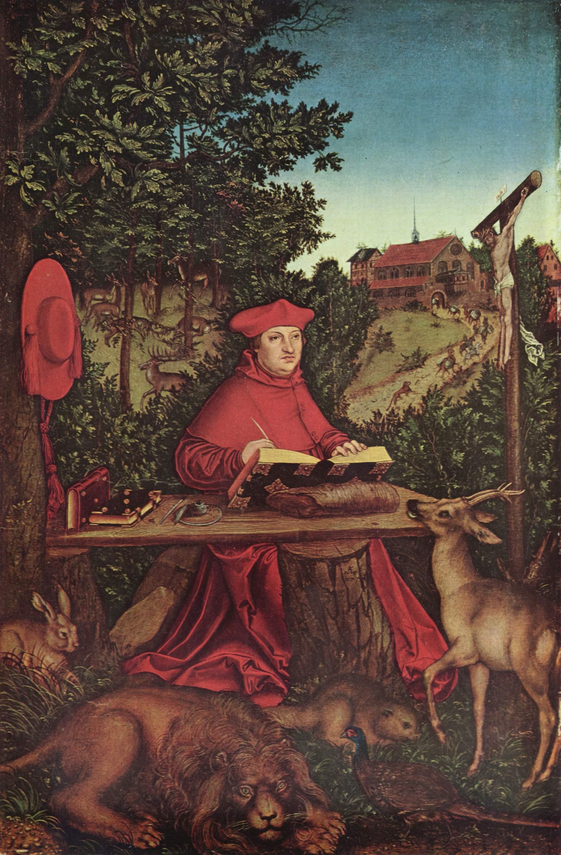 Портрет кардинала Альбрехта Бранденбурского на фоне пейзажа в виде св. Иеронима, Лукас Кранах Старший