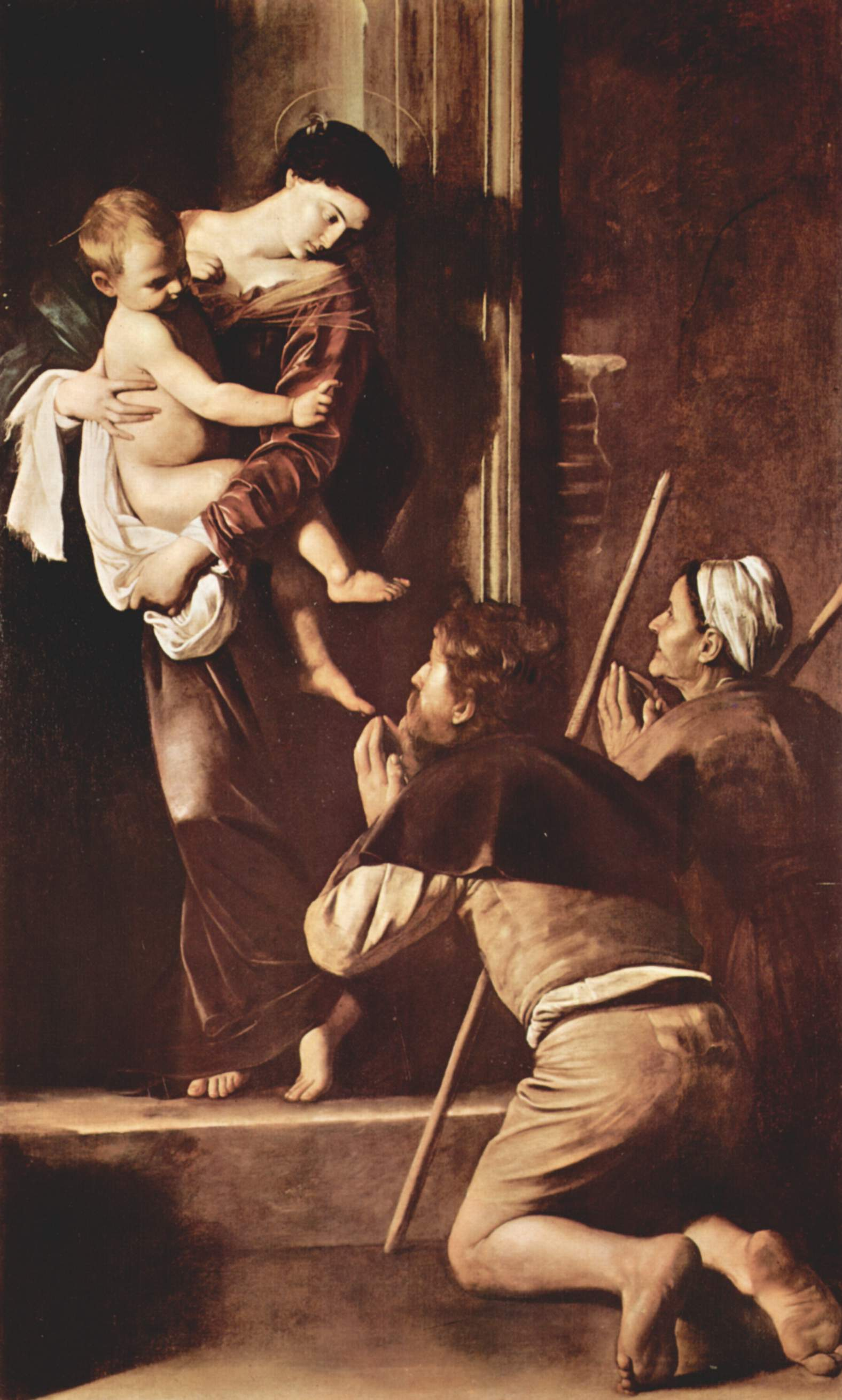 Алтарь Капеллы Кавалетти в Санта Агостино в Риме, Мадонна пилигримов, Микеланджело Меризи де Караваджо