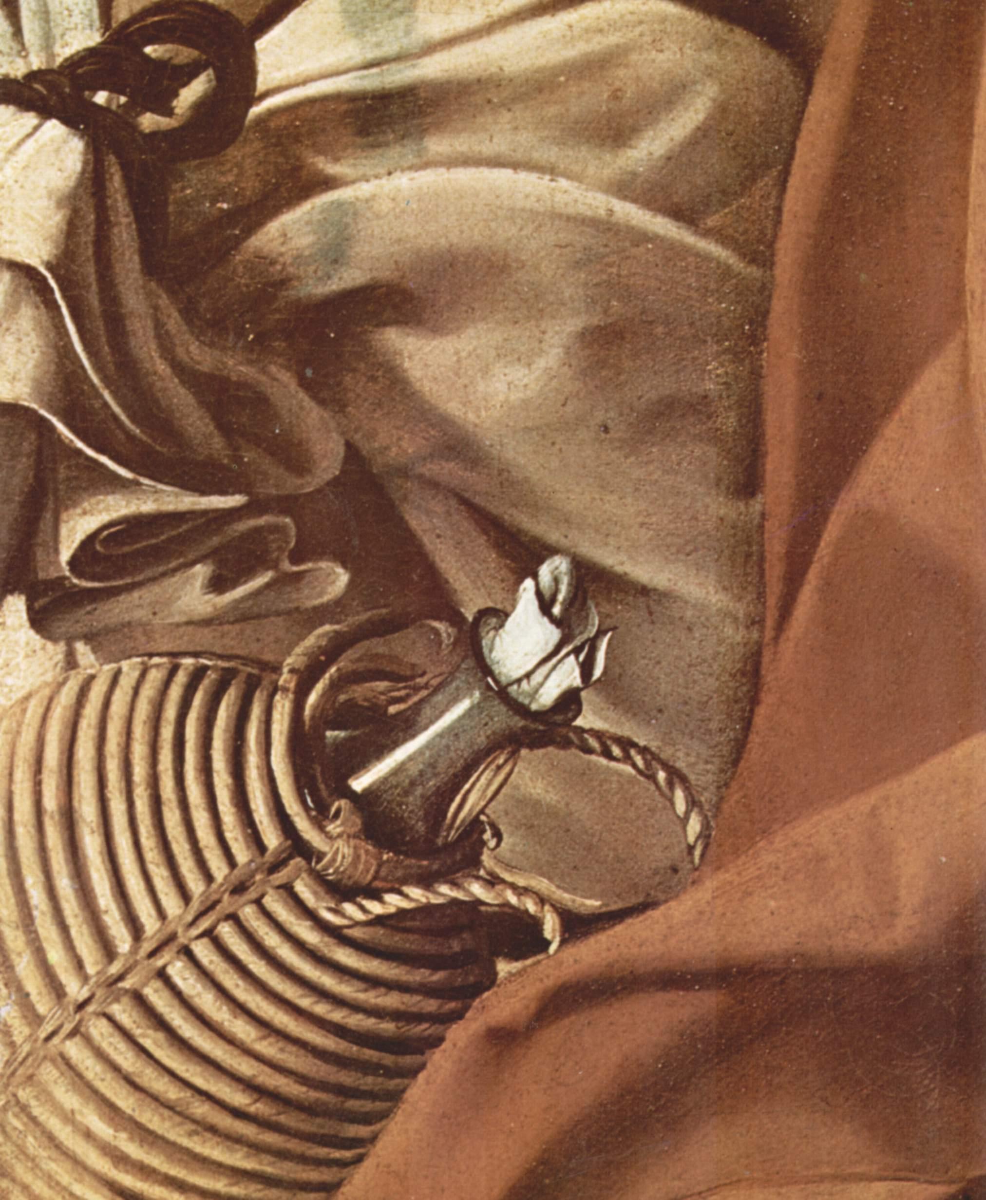 Отдых на пути в Египет. Деталь  корзина с провиантом, Микеланджело Меризи де Караваджо