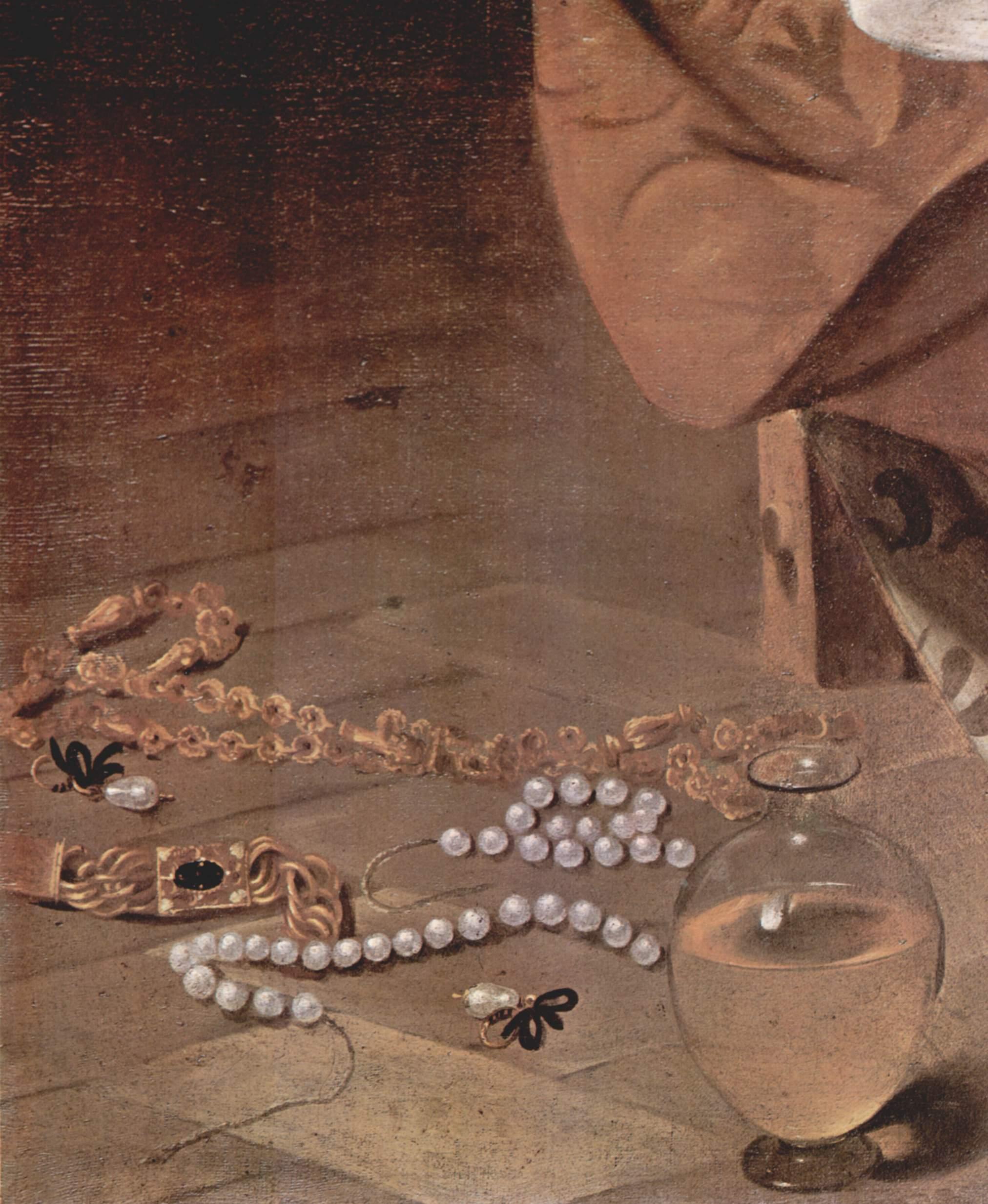 Мария Магдалина. Деталь  жемчужины, Микеланджело Меризи де Караваджо