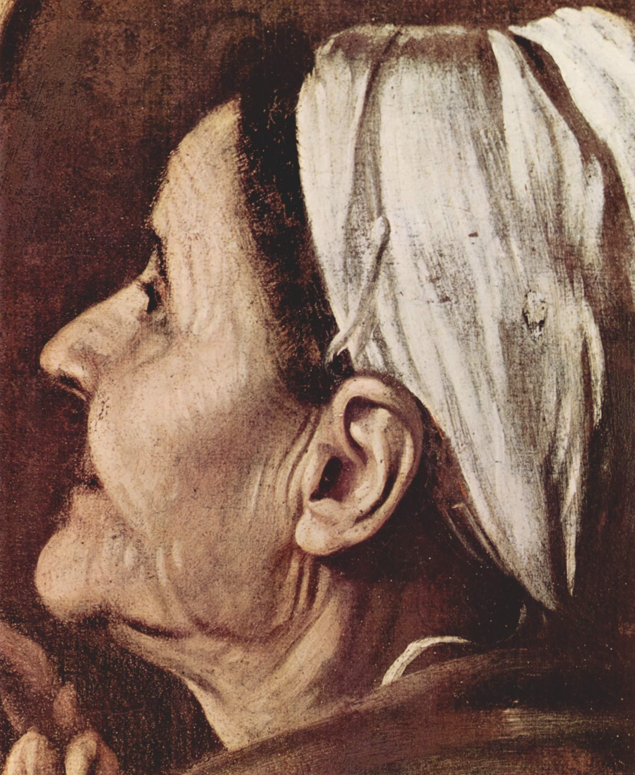Алтарь Капеллы Кавалетти в Санта Агостино в Риме, Мадонна пилигримов. Деталь  голова паломницы, Микеланджело Меризи де Караваджо