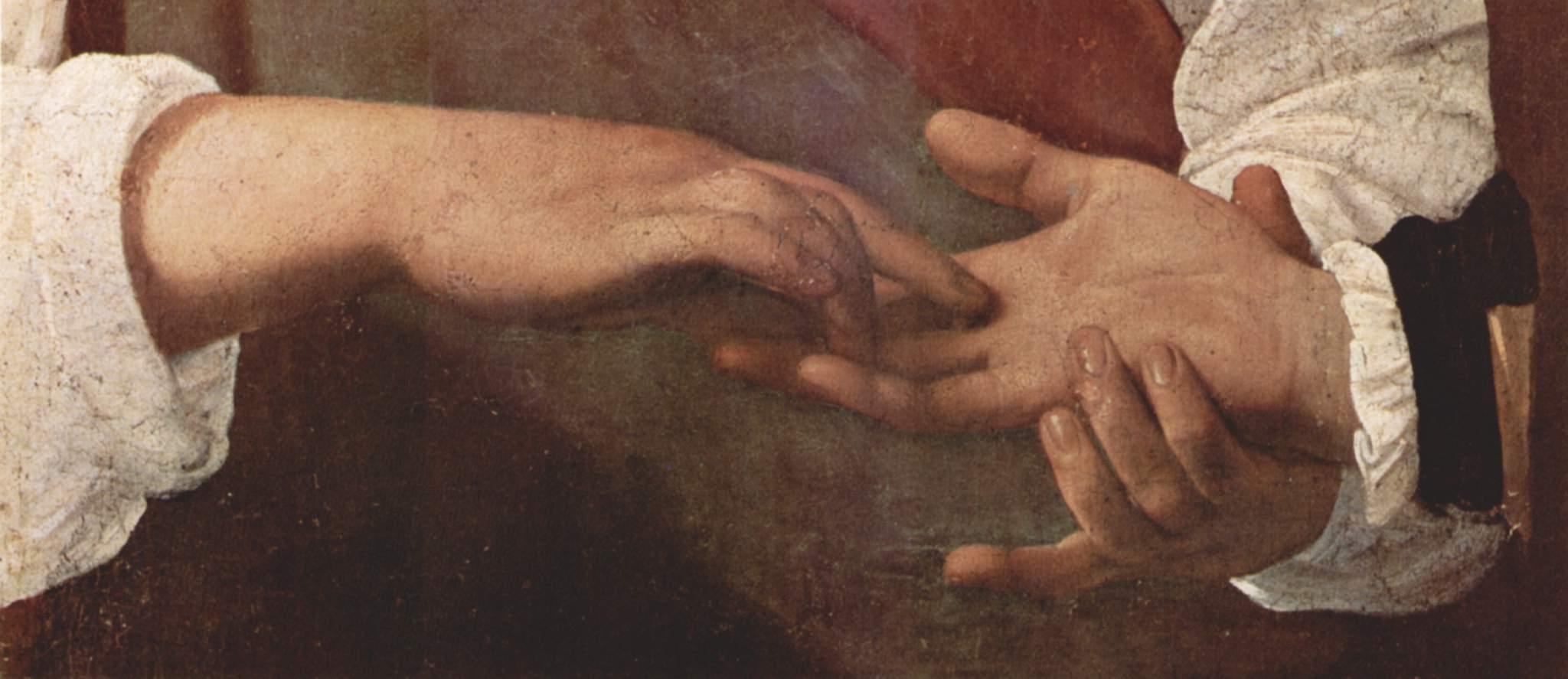 Гадалка. Деталь  руки (кража кольца), Микеланджело Меризи де Караваджо