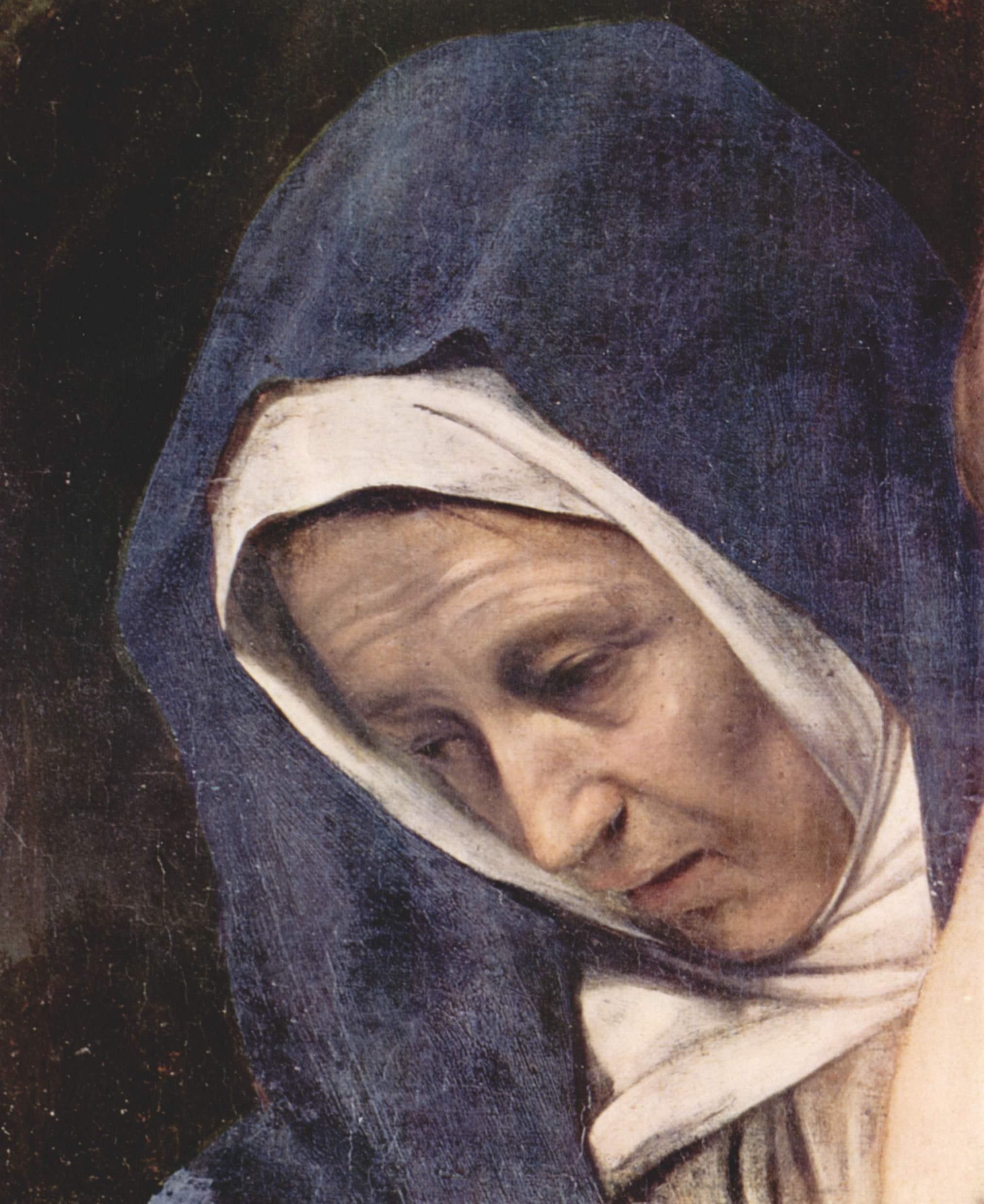 Положение во гроб. Деталь  голова Марии, Микеланджело Меризи де Караваджо