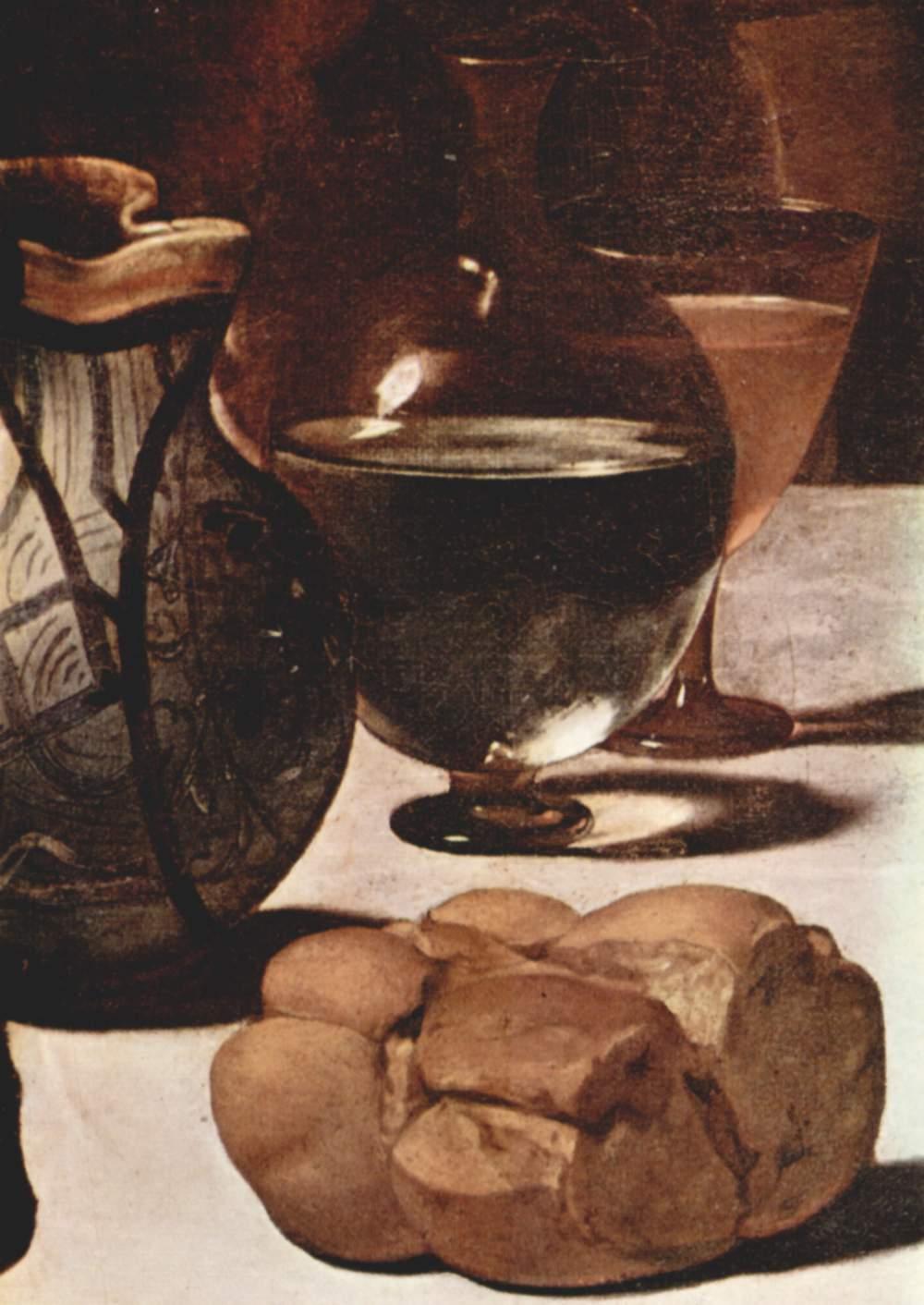Христос в Эммаусе. Деталь  хлеб, Микеланджело Меризи де Караваджо