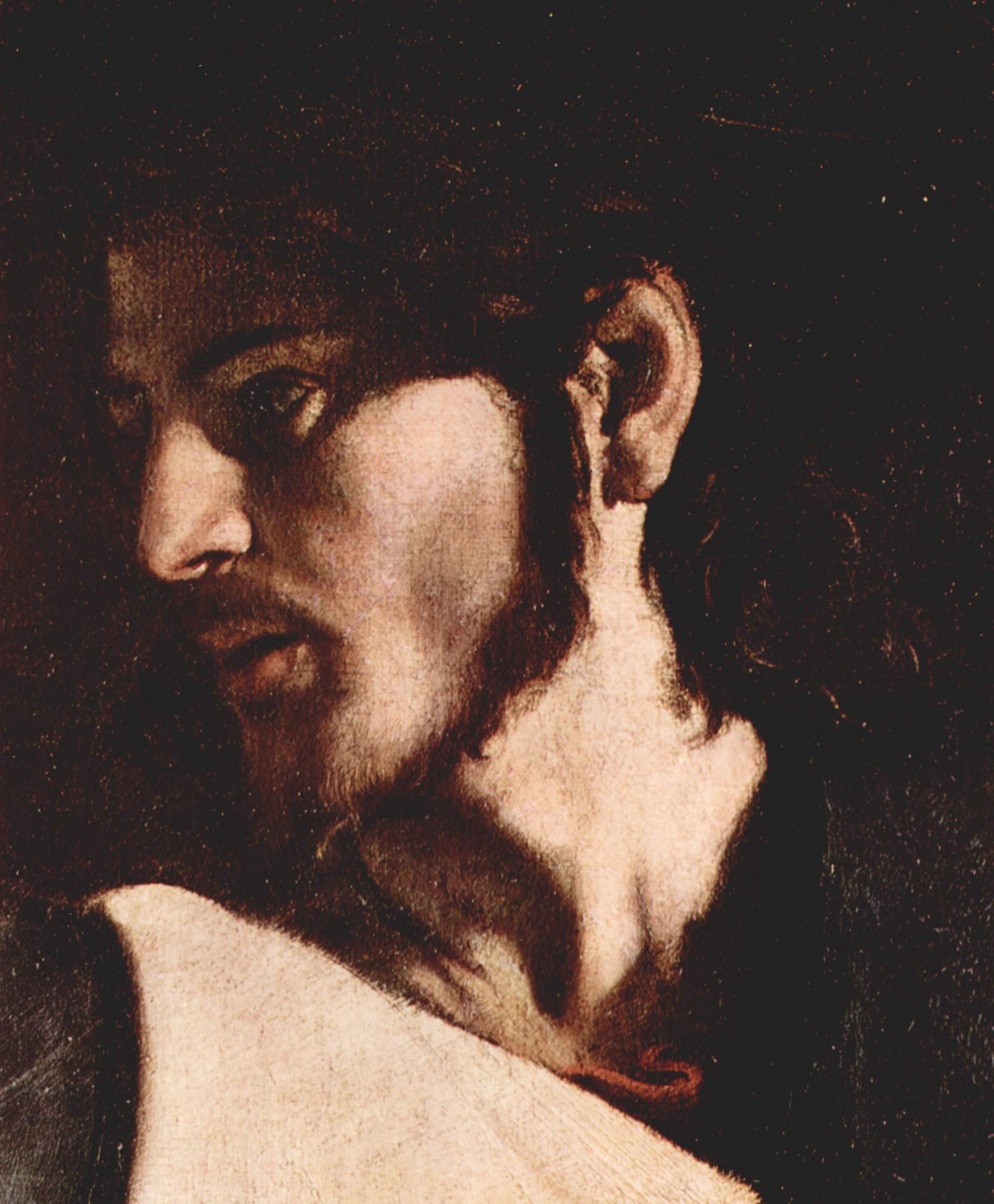 Картины из Капеллы Котарелли в Сан Луиджи ди Франчези в Риме, призвание св. Матфея. Деталь  Иисус, Микеланджело Меризи де Караваджо