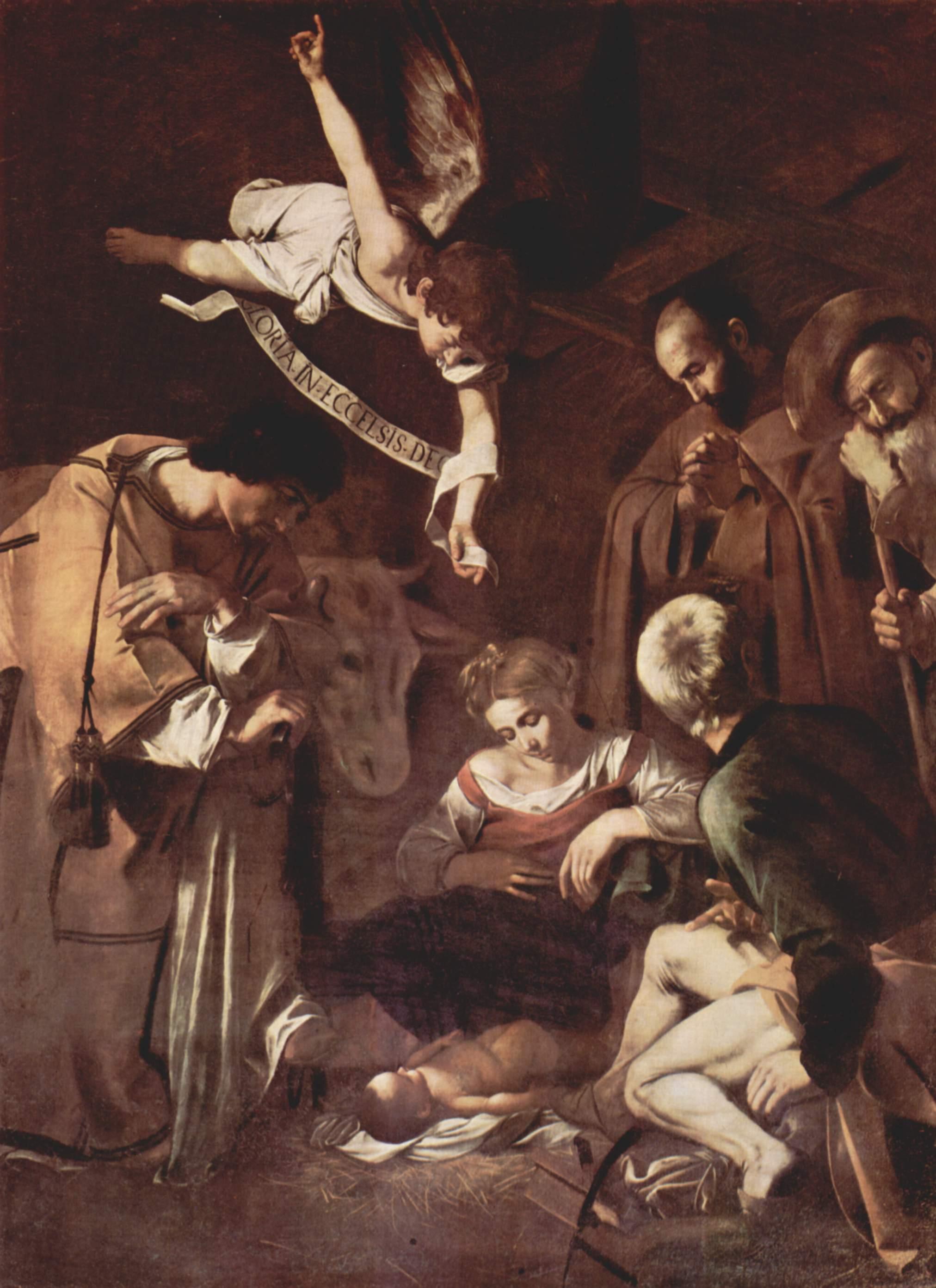 Рождество со св. Лаврентием и св. Франциском, Микеланджело Меризи де Караваджо