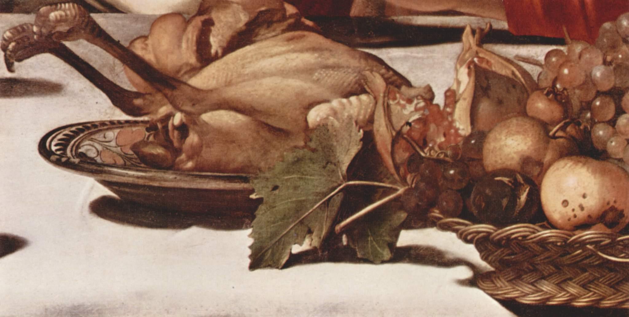 Христос в Эммаусе. Деталь  фрукты и дичь, Микеланджело Меризи де Караваджо