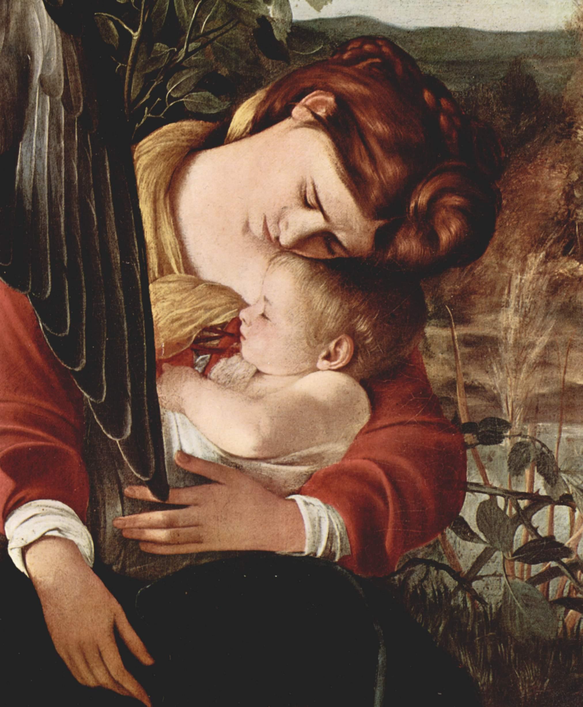 Отдых на пути в Египет. Деталь  Мария и младенец Христос, Микеланджело Меризи де Караваджо