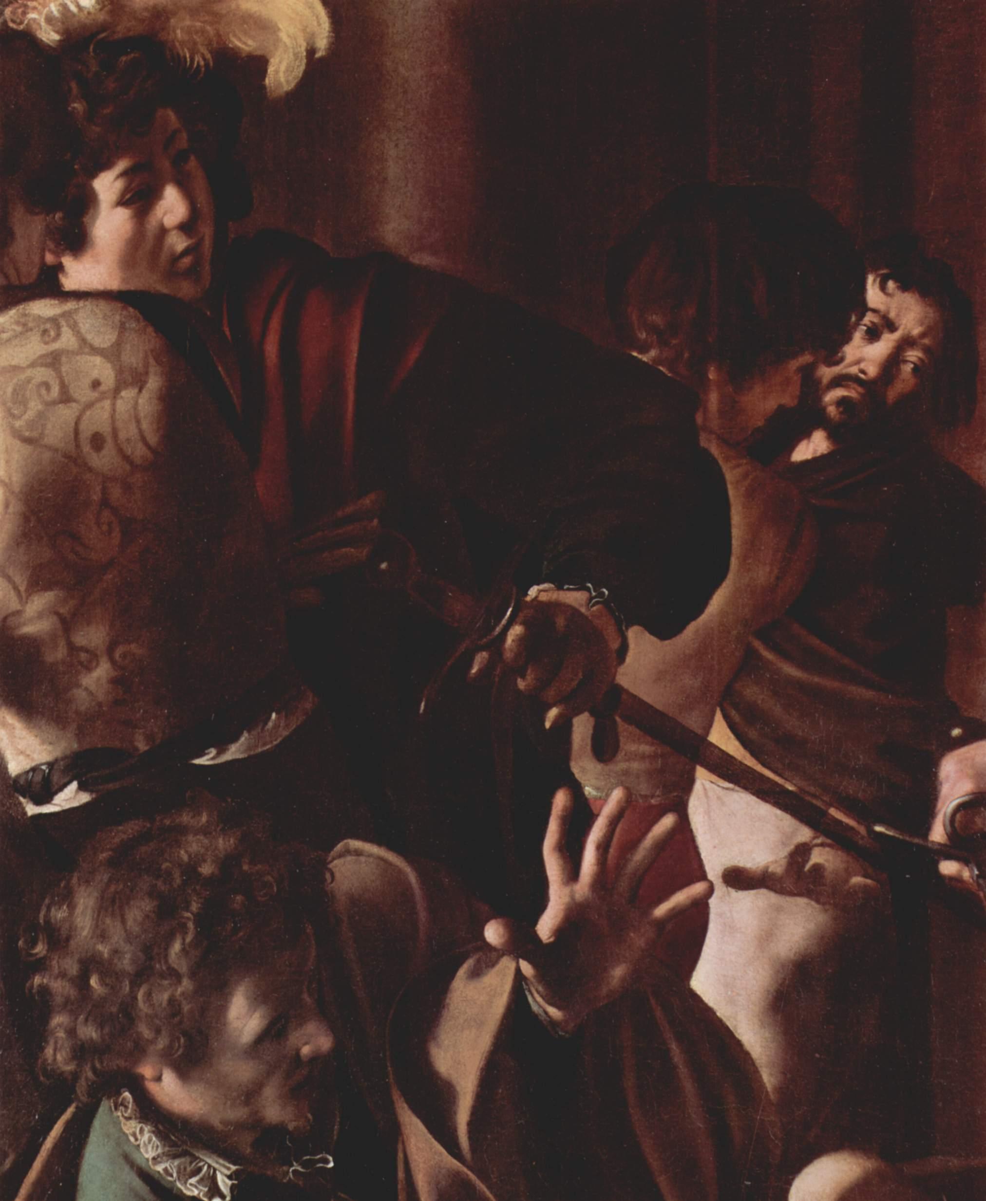Картины из Капеллы Котарелли в Сан Луиджи ди Франчези в Риме, мученичество св. Матфея. Деталь  зрите, Микеланджело Меризи де Караваджо
