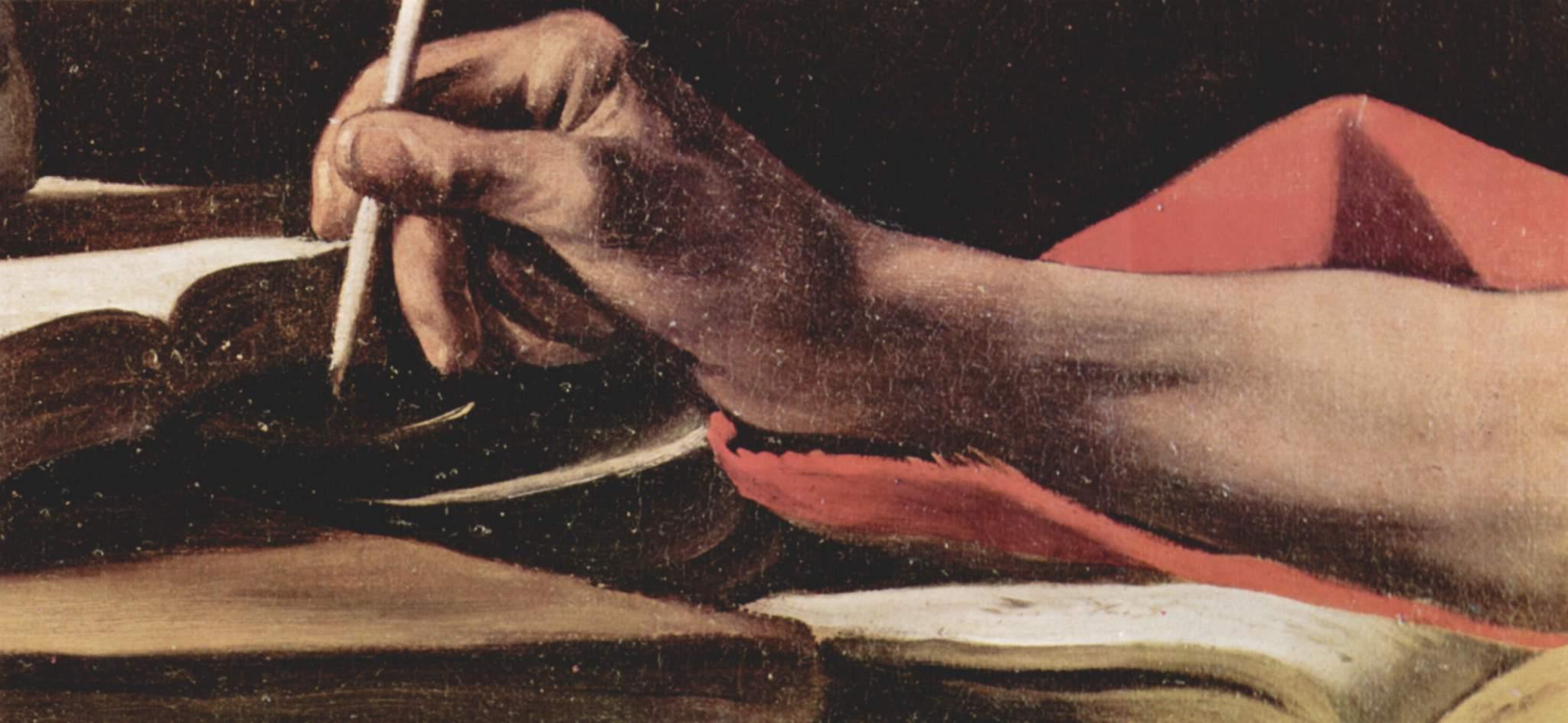 Пишущий св. Иероним. Деталь, Микеланджело Меризи де Караваджо