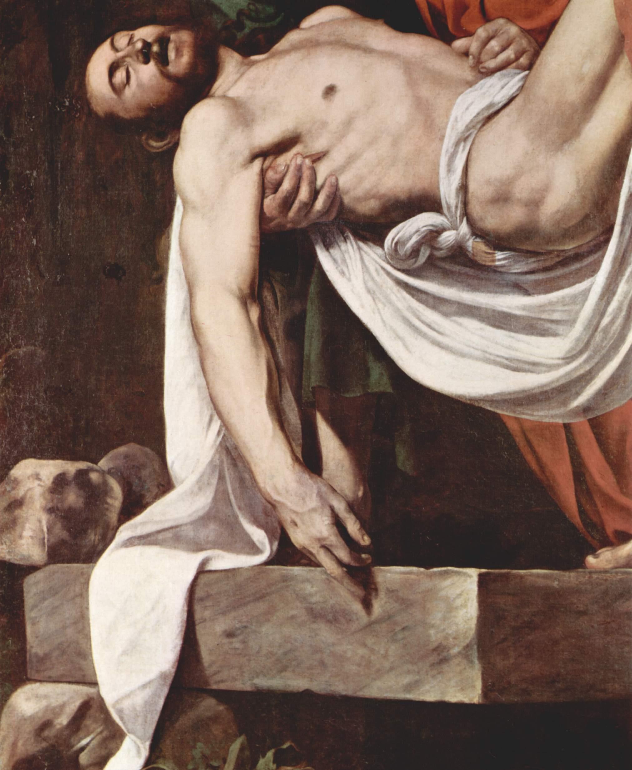 Положение во гроб. Деталь  Христос, Микеланджело Меризи де Караваджо