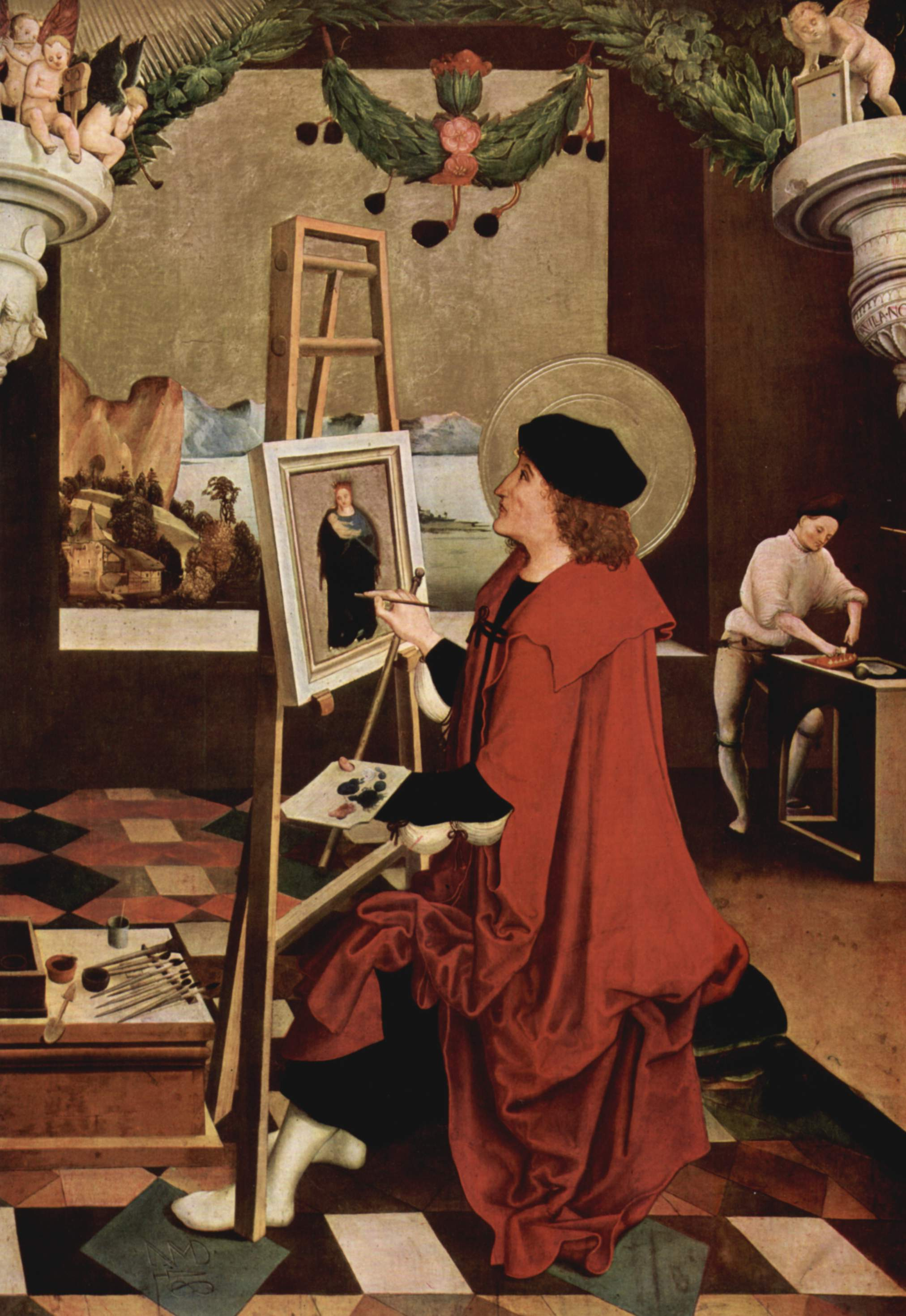 Св. Лука, рисующий Мадонну, створка алтаря, Никлаус Мануэль Дойтш