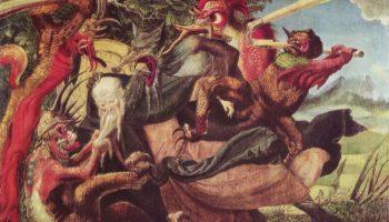 Алтарь св. Антония, левая створка снаружи  Демоны искушают св. Антония
