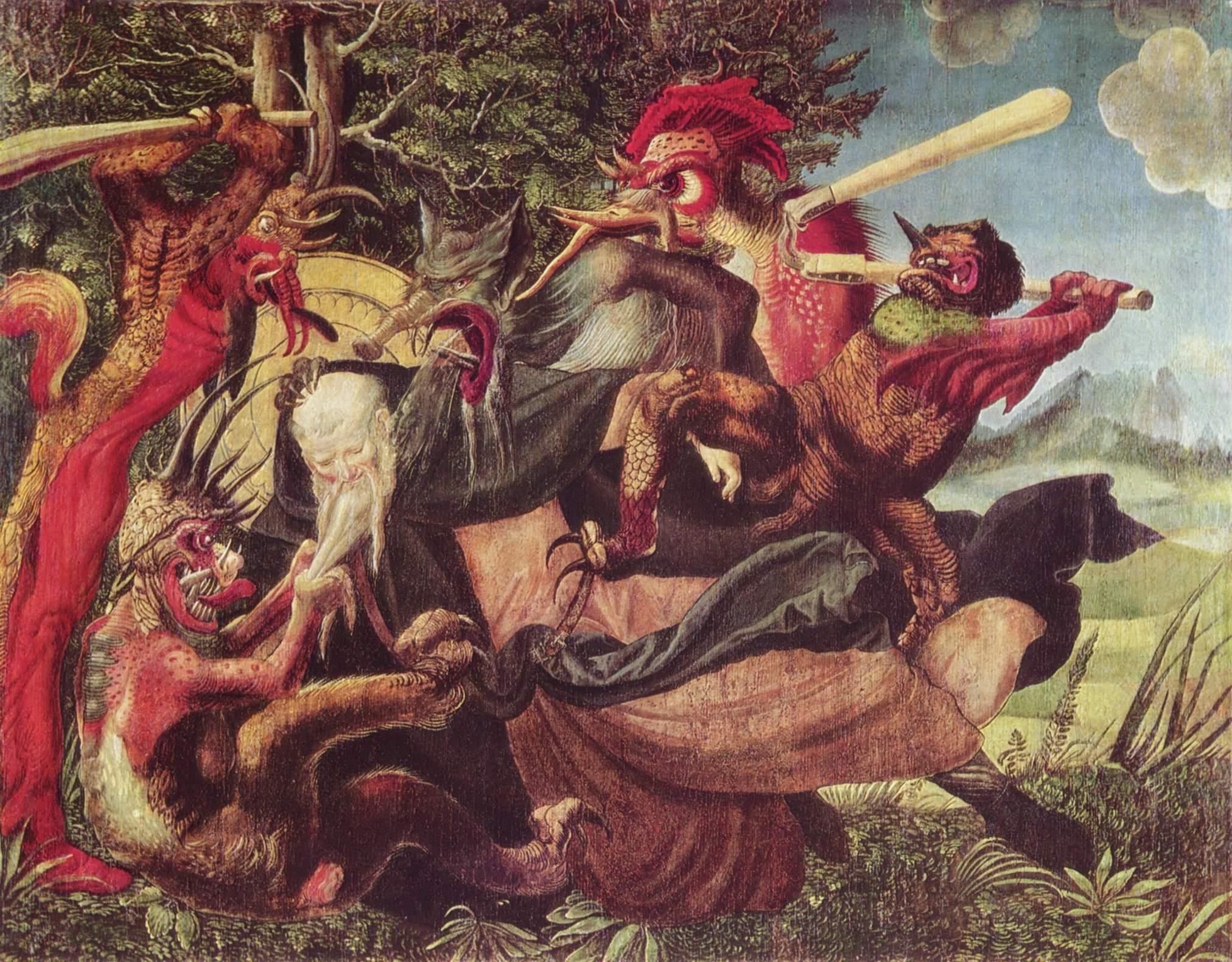 Алтарь св. Антония, левая створка снаружи  Демоны искушают св. Антония, Никлаус Мануэль Дойтш