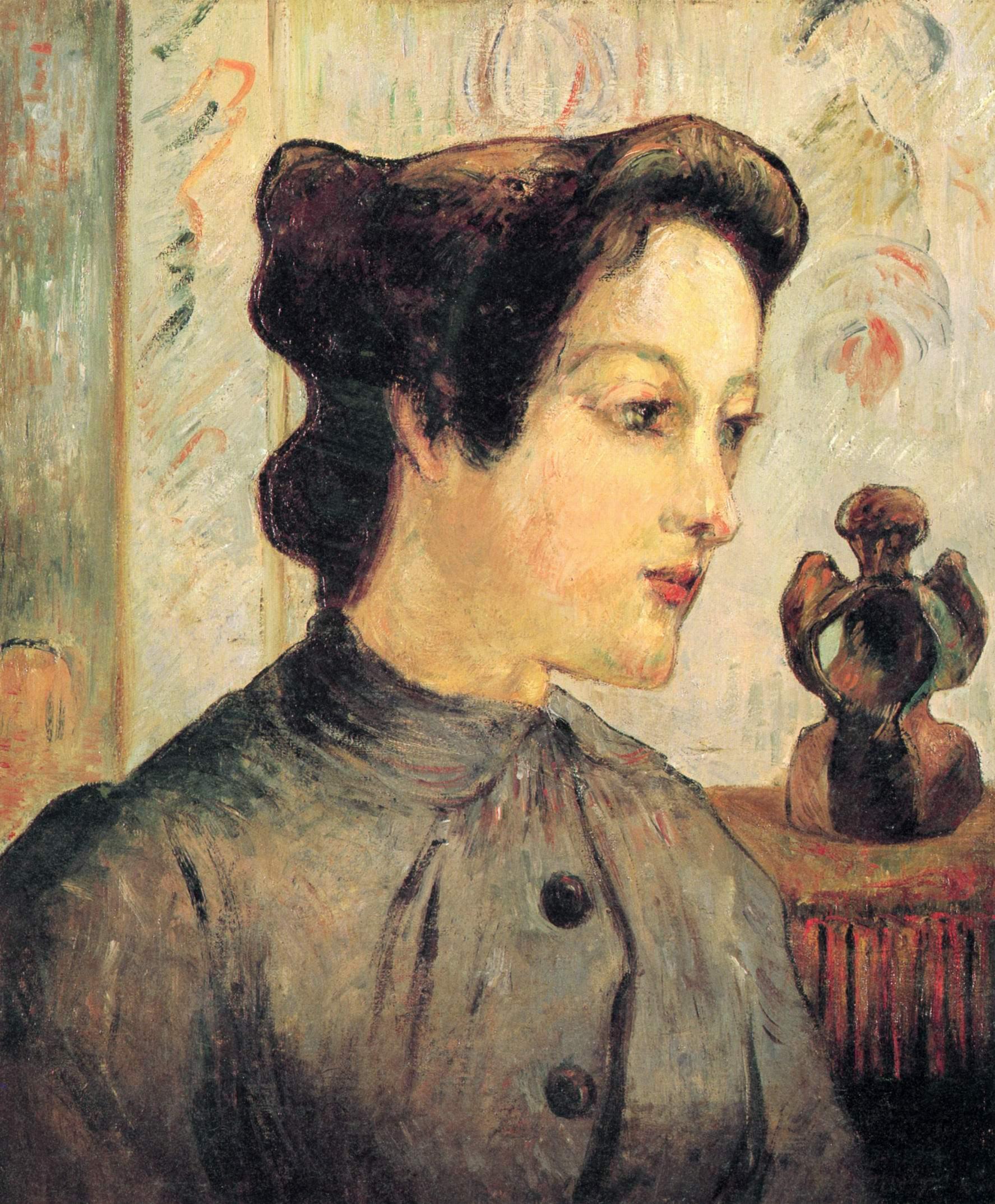 Женщина с волосами, убранными в пучок, Поль Гоген