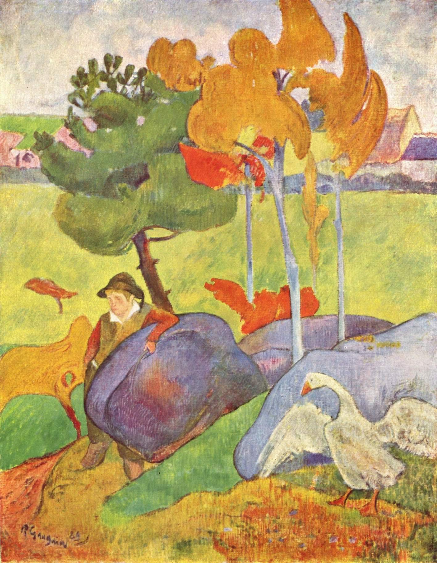 Бретонец, пасущий гусей, Поль Гоген