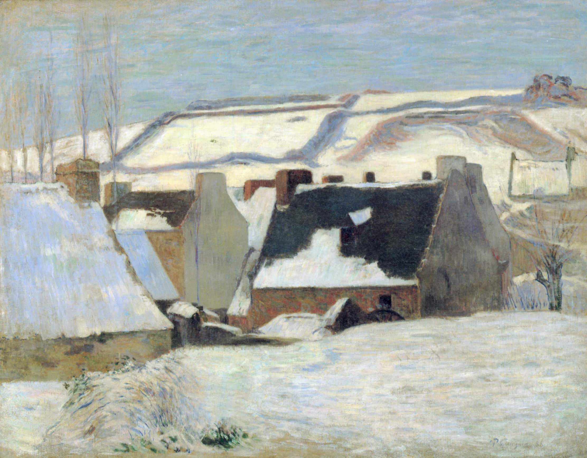 Бретонская деревня в снегу, Поль Гоген