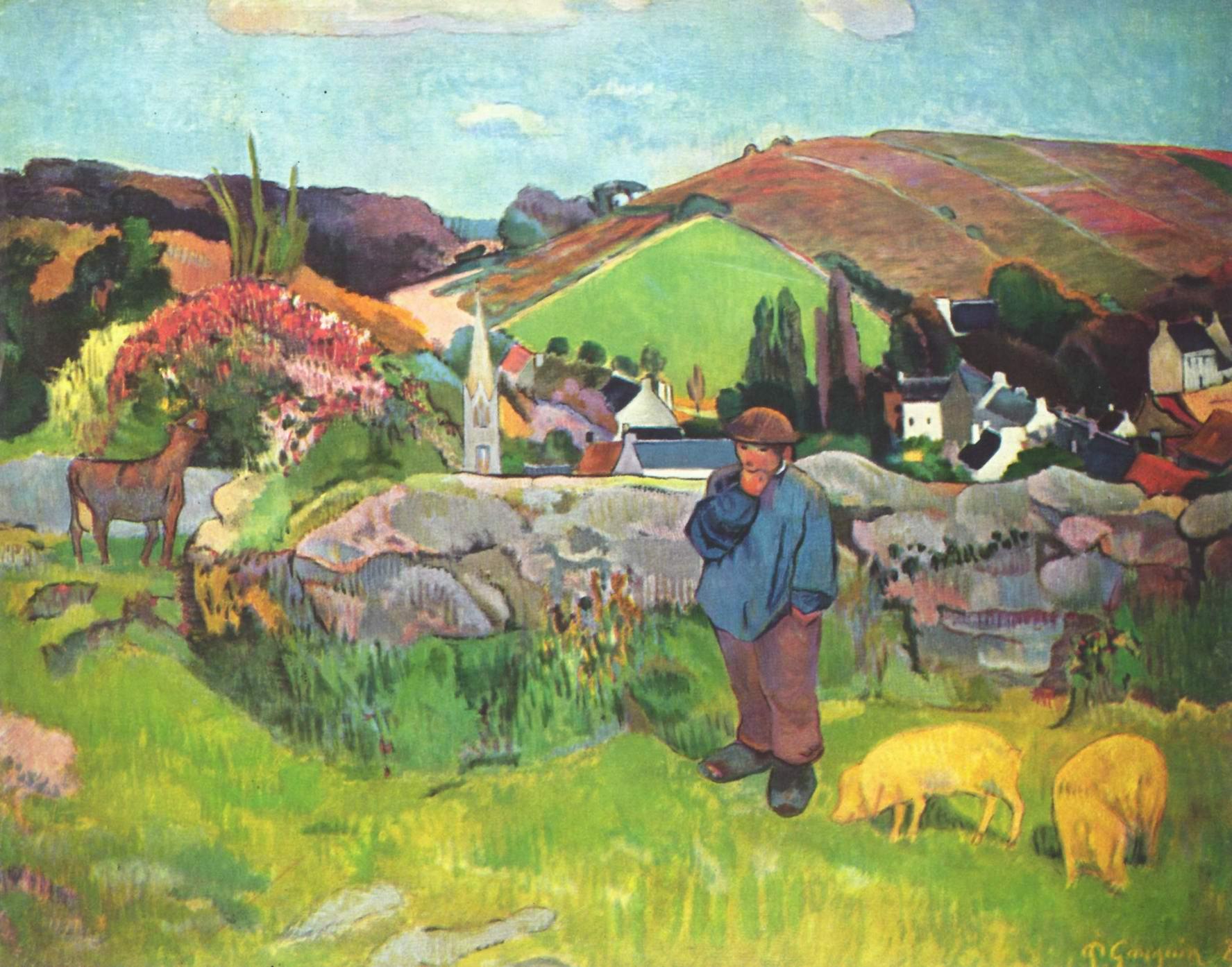 Бретонский пейзаж со свинопасом, Поль Гоген