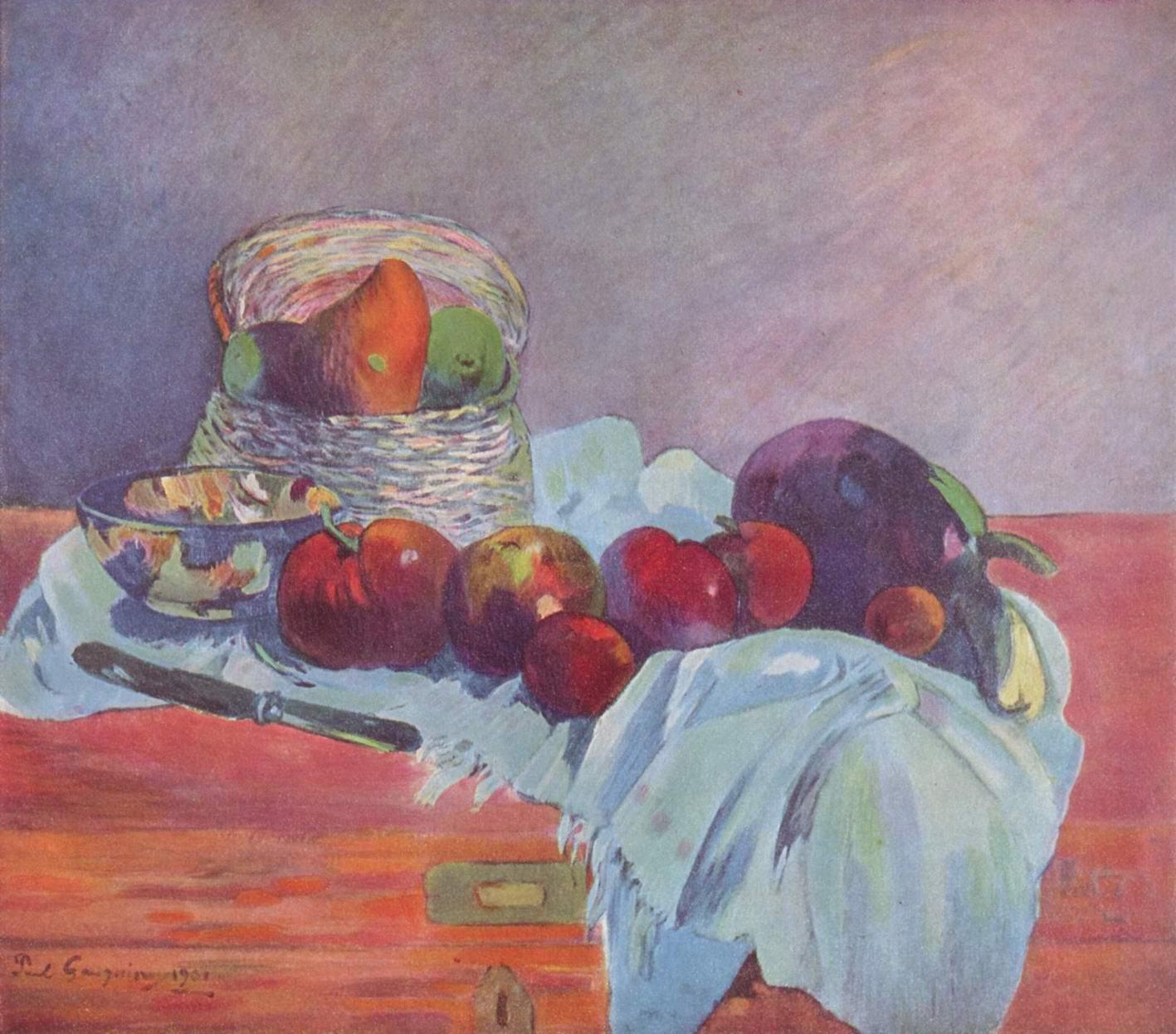 Натюрморт с фруктами, корзиной и ножом, Поль Гоген