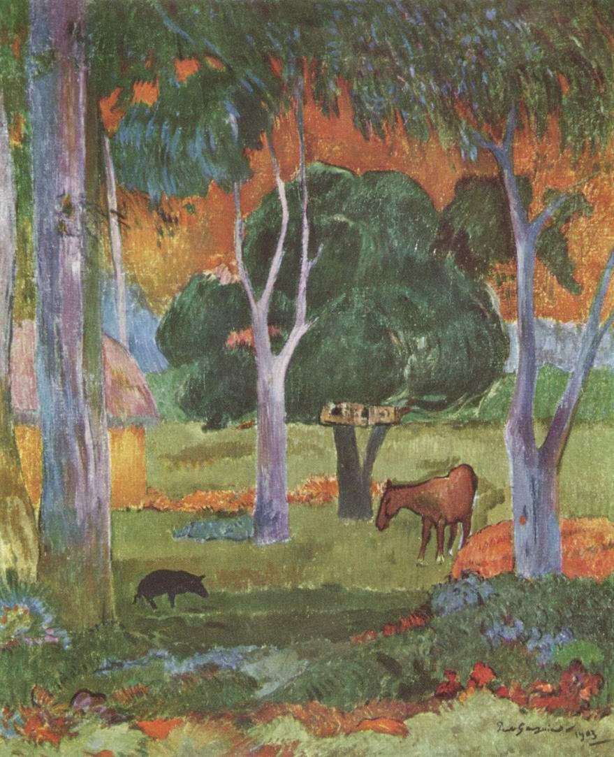 Пейзаж на острове Доминик (Хива Оа), Поль Гоген
