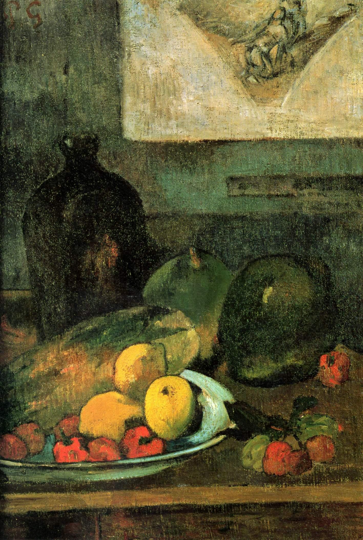 Натюрморт на фоне гравюры Делакруа, Поль Гоген