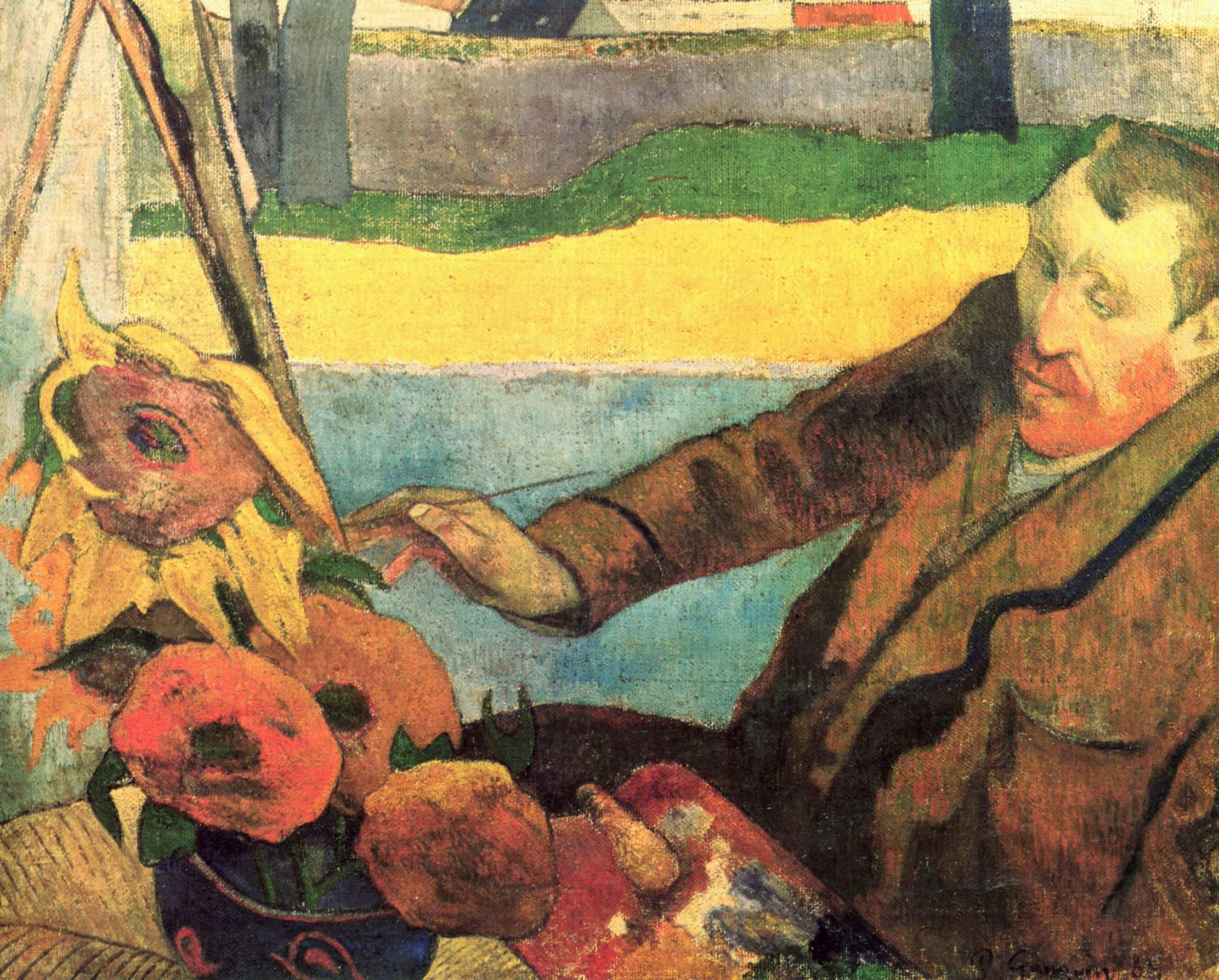 Портрет Винсента ван Гога, рисующего подсолнухи, Поль Гоген