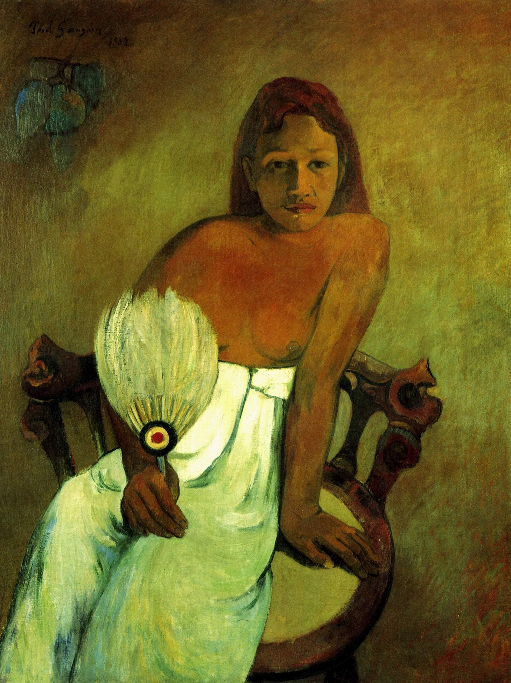 Юная девушка с веером, Поль Гоген