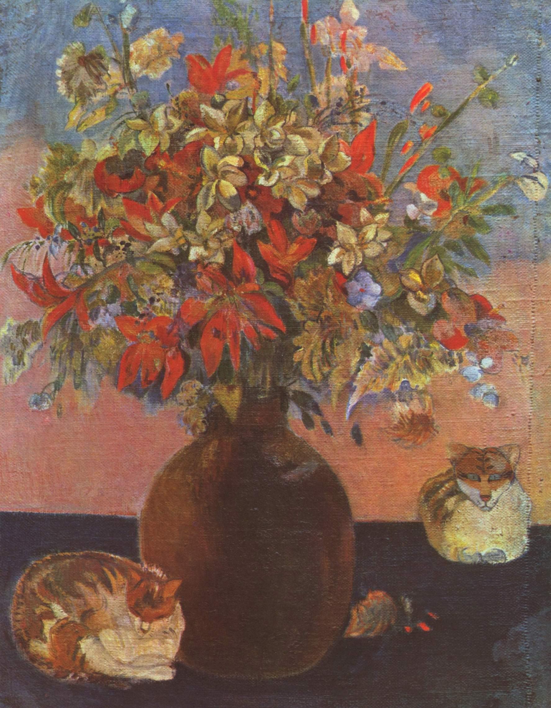 Цветы и кошки, Поль Гоген