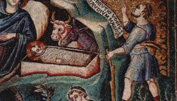 Цикл мозаик с шестью сценами из жизни Марии в церкви Санта Мария в Трастевере в Риме, Рождество Хрис