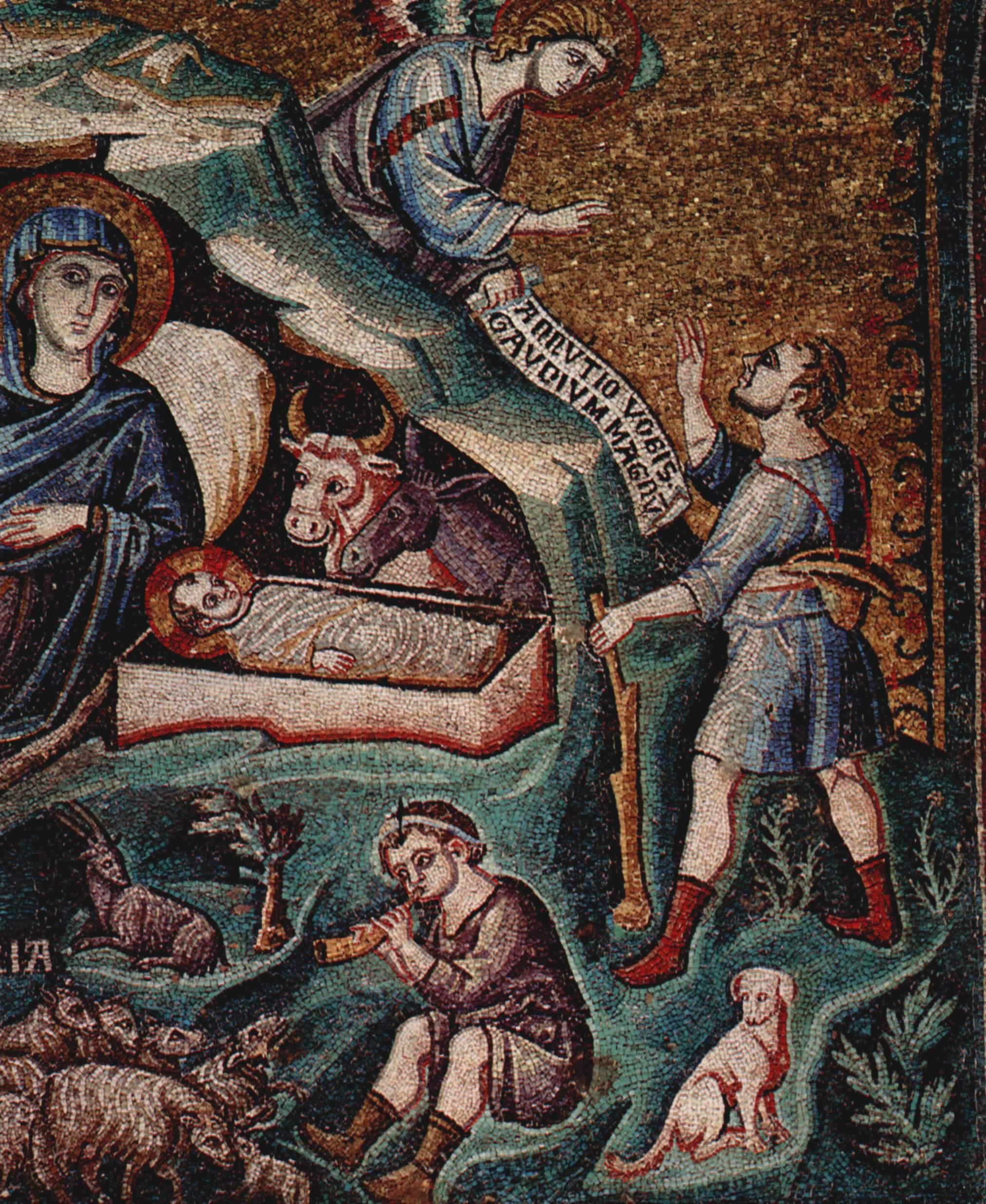Цикл мозаик с шестью сценами из жизни Марии в церкви Санта Мария в Трастевере в Риме, Рождество Хрис, Пьетро Каваллини