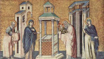Цикл мозаик с шестью сценами из жизни Марии в церкви Санта Мария в Трастевере в Риме, Сретение