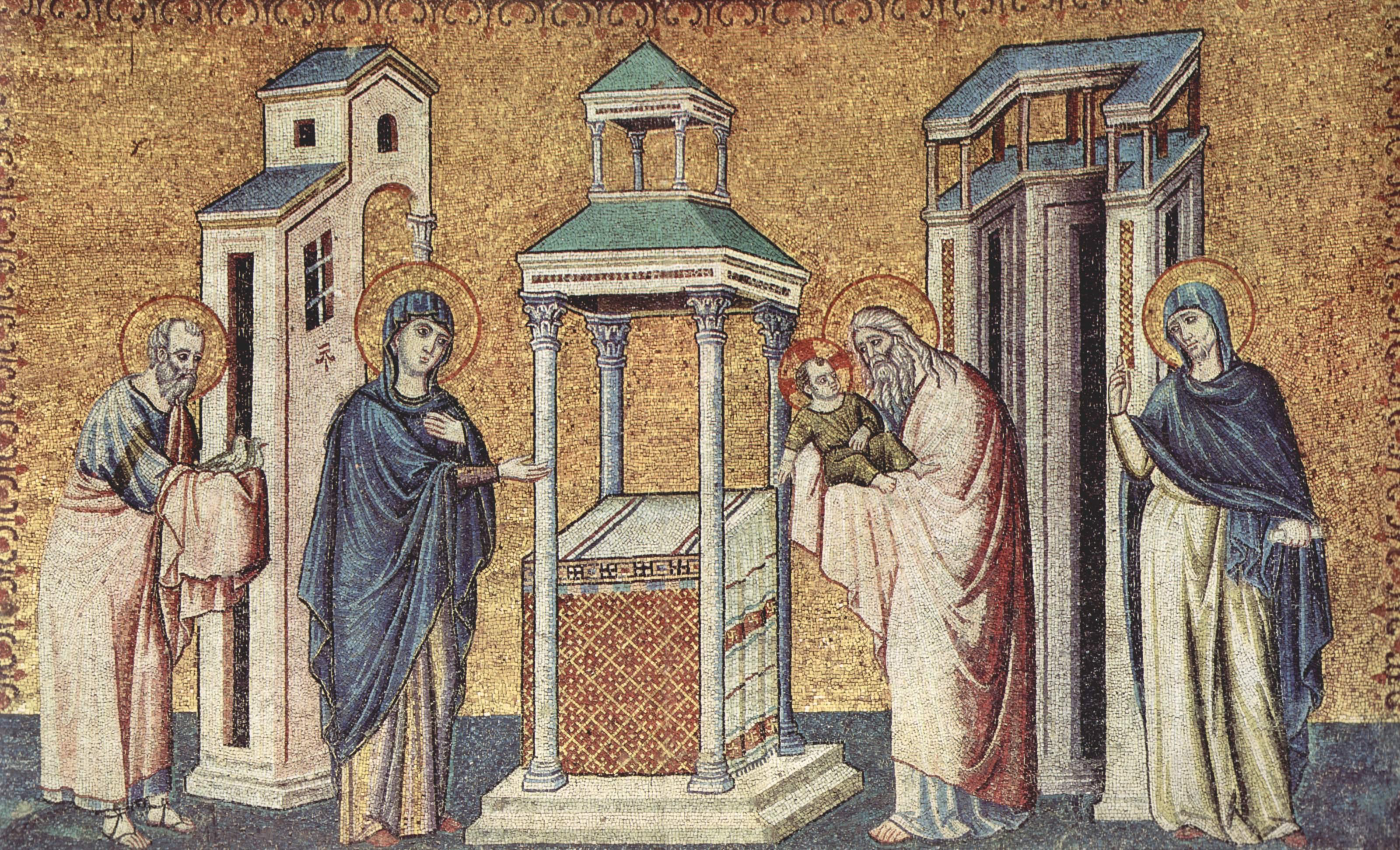 Цикл мозаик с шестью сценами из жизни Марии в церкви Санта Мария в Трастевере в Риме, Сретение, Пьетро Каваллини