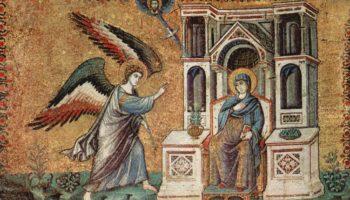 Цикл мозаик с шестью сценами из жизни Марии в церкви Санта Мария в Трастевере в Риме, Благовещение