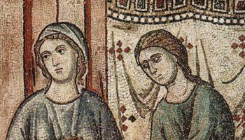 Цикл мозаик с шестью сценами из жизни Марии в церкви Санта Мария в Трастевере в Риме, Рождество Бого