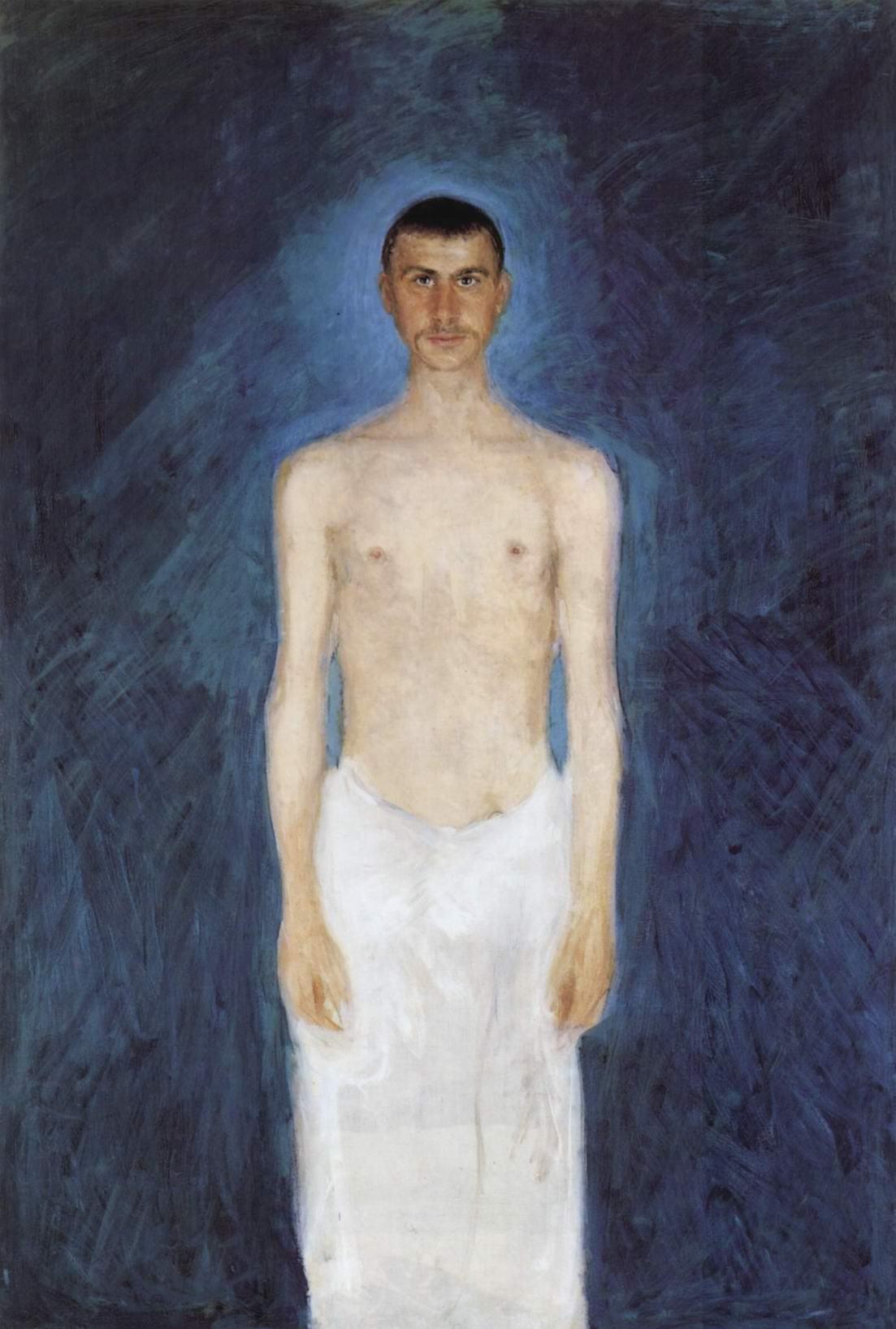Автопортрет полуобнаженным на синем фоне, Рихард Герстль