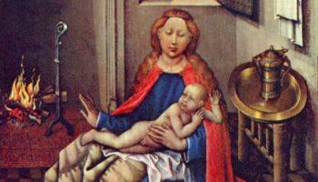 Мадонна с младенцем Христом перед камином