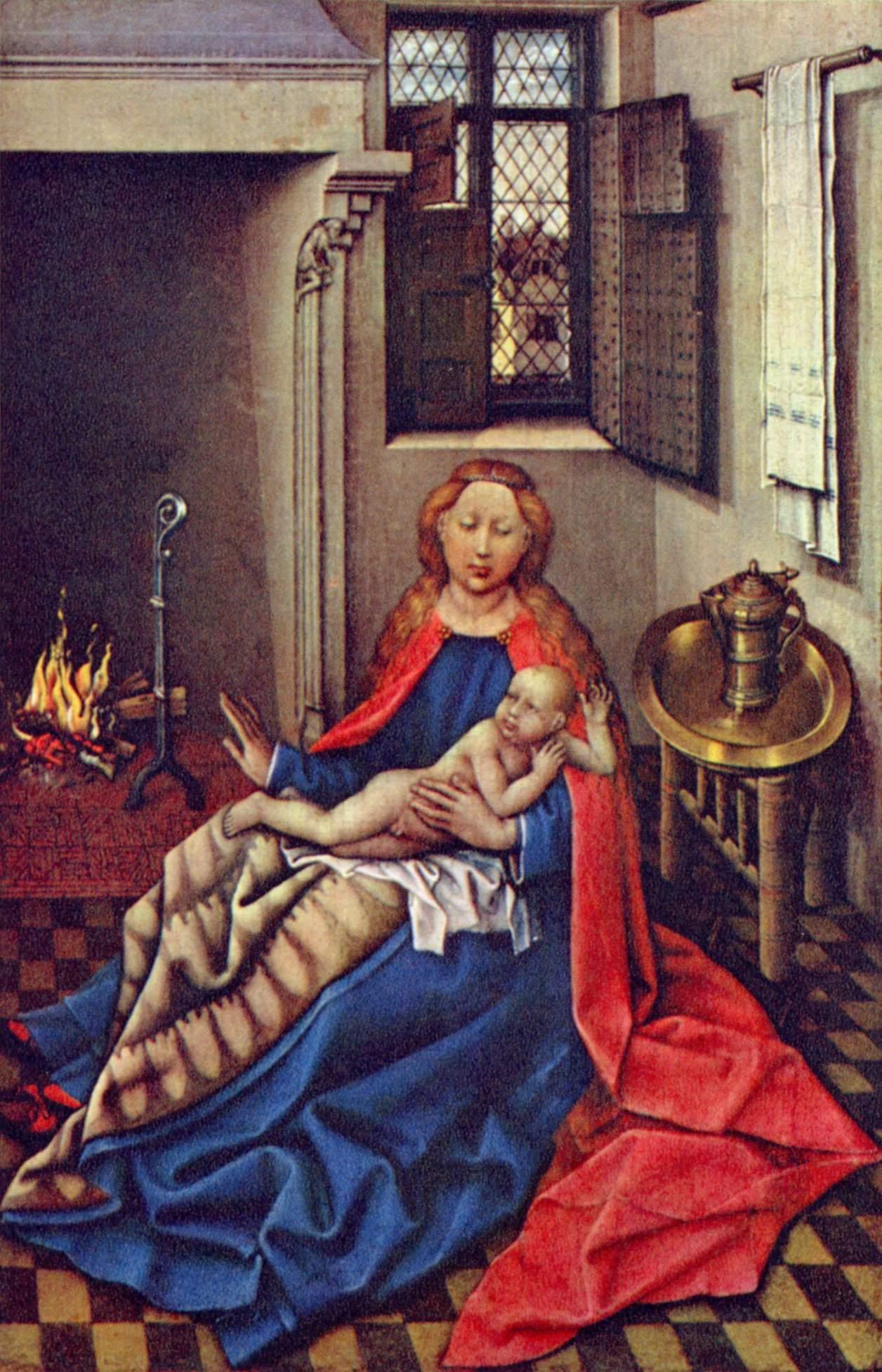 Мадонна с младенцем Христом перед камином, Робер Кампен