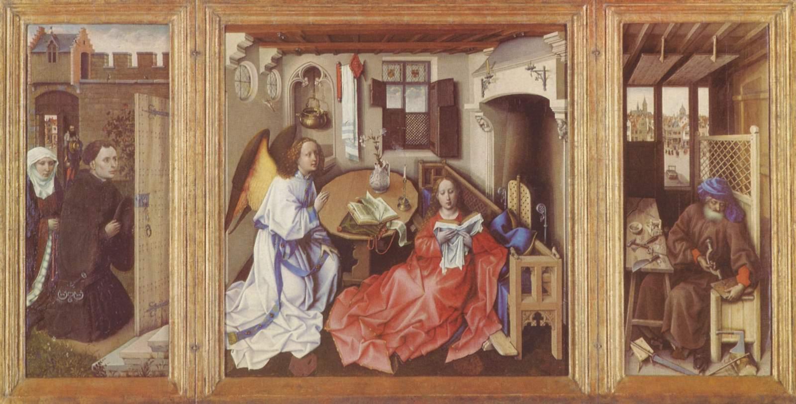 Алтарь Мероде, общий вид, центральная часть  Благовещение, правая створка  Иосиф в мастерской, левая, Робер Кампен