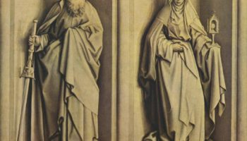 Алтарь чуда о процветшем посохе и обручения Марии, оборотная сторона  св. Иаков Старший и св. Клара