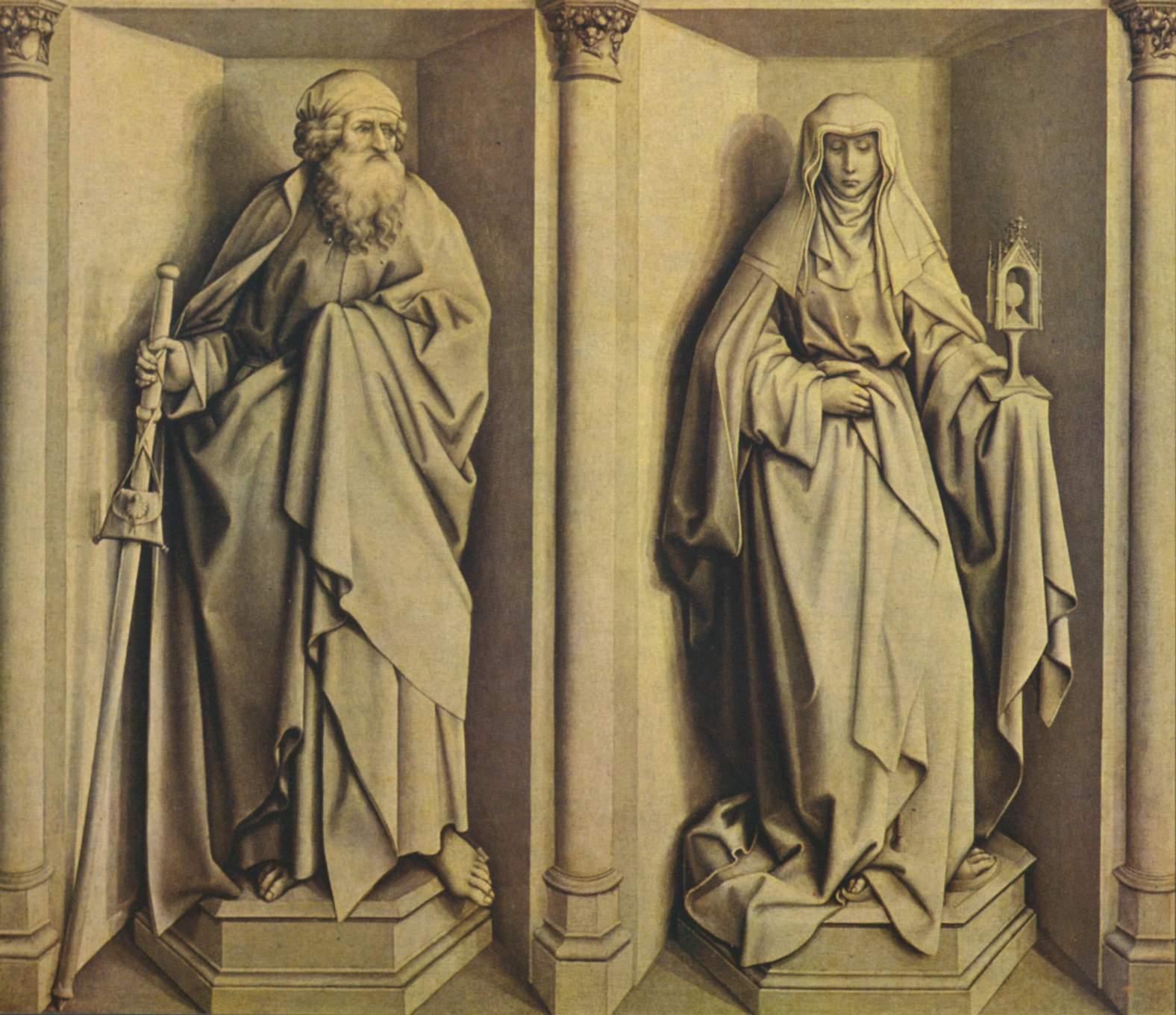 Алтарь чуда о процветшем посохе и обручения Марии, оборотная сторона  св. Иаков Старший и св. Клара, Робер Кампен